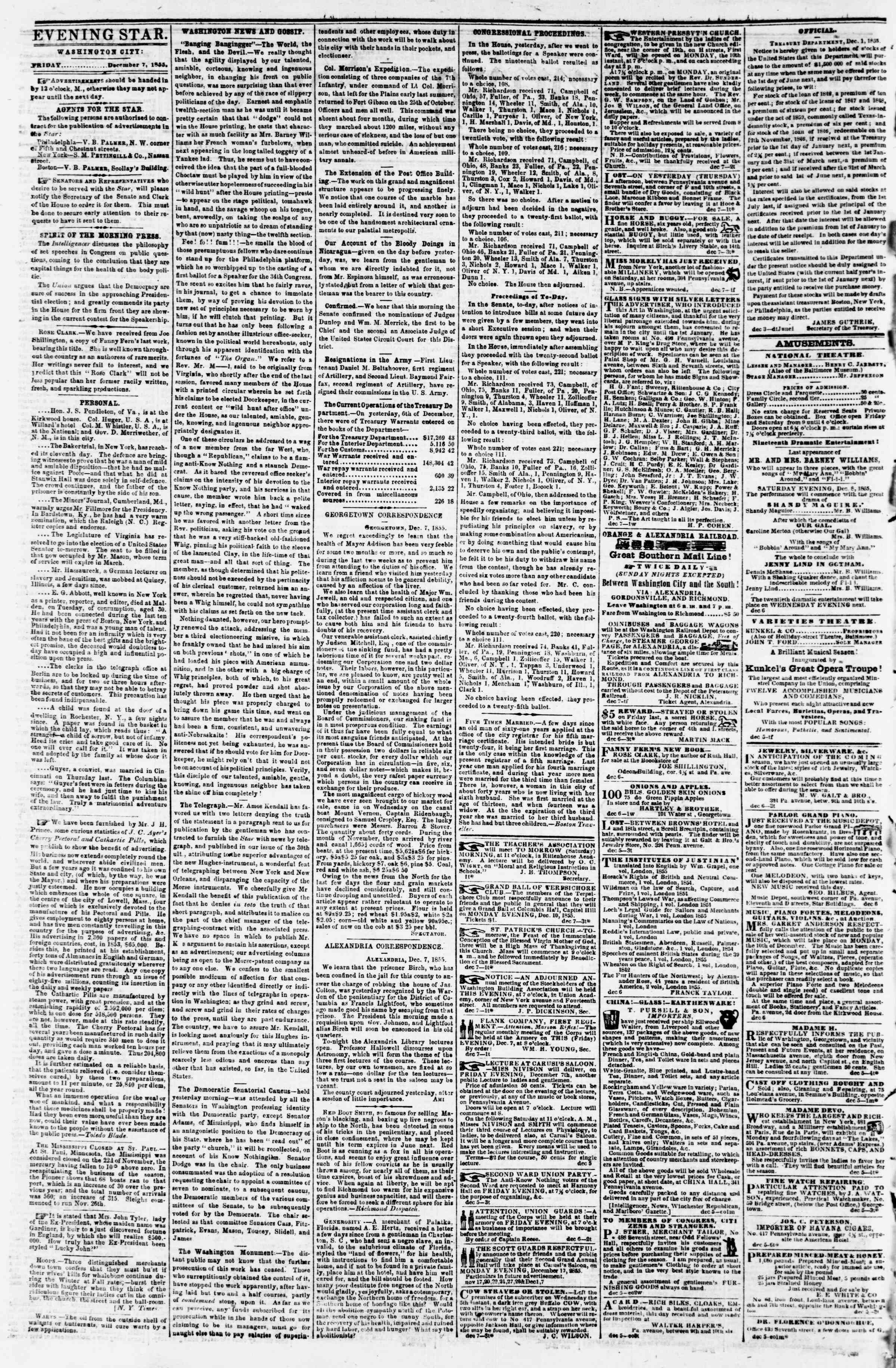 Newspaper of Evening Star dated December 7, 1855 Page 2