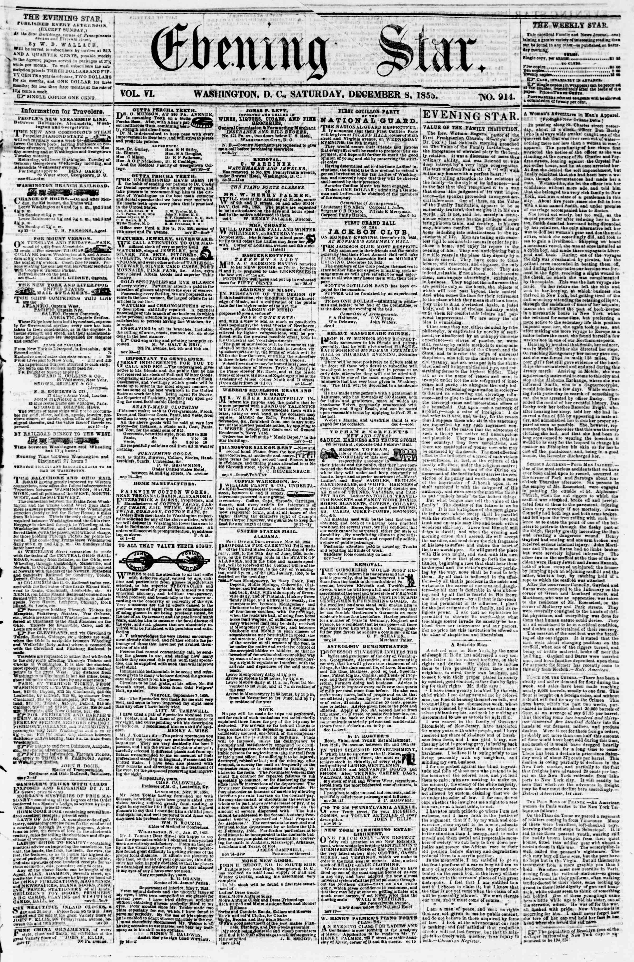 Newspaper of Evening Star dated December 8, 1855 Page 1