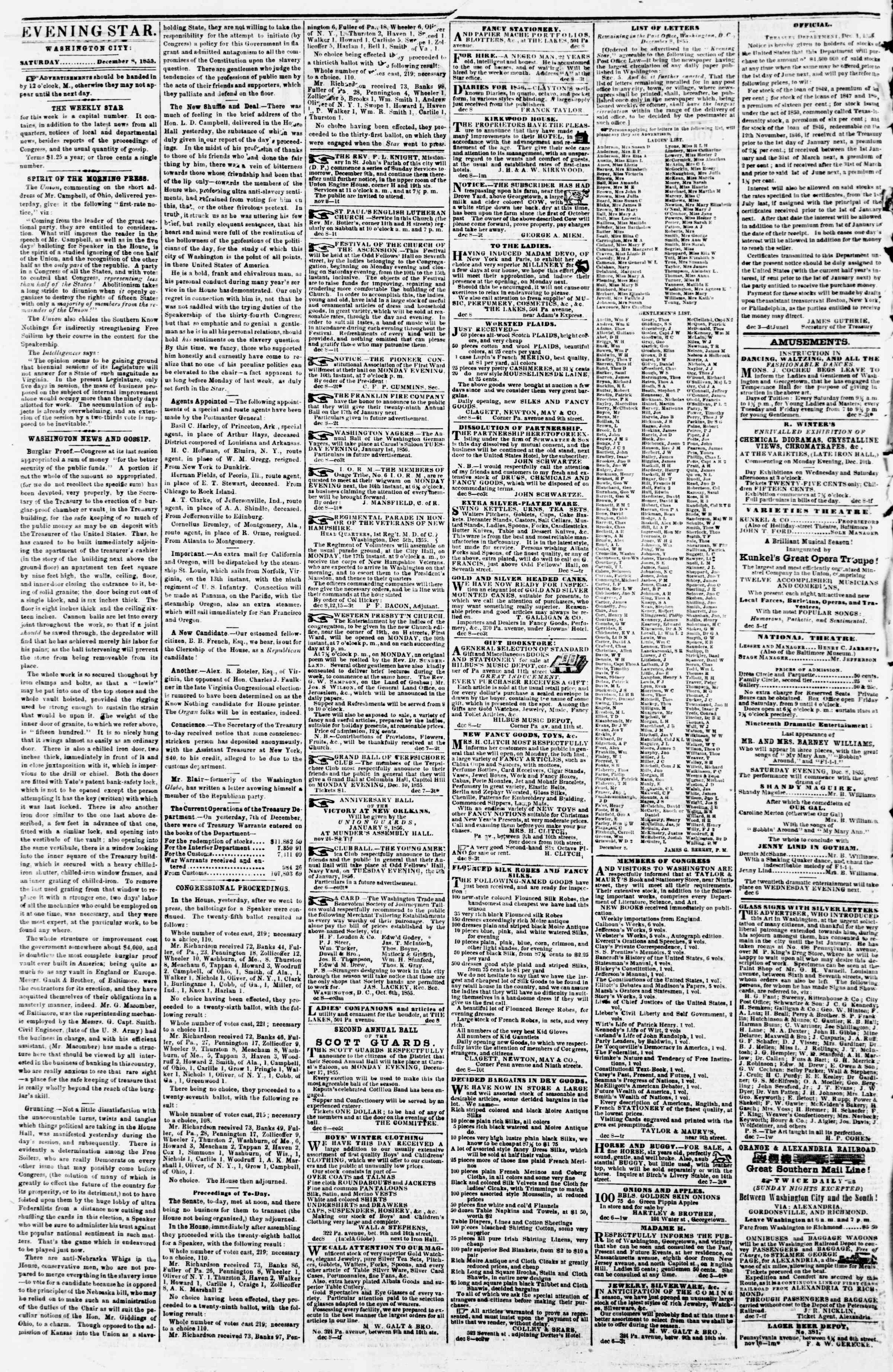Newspaper of Evening Star dated December 8, 1855 Page 2