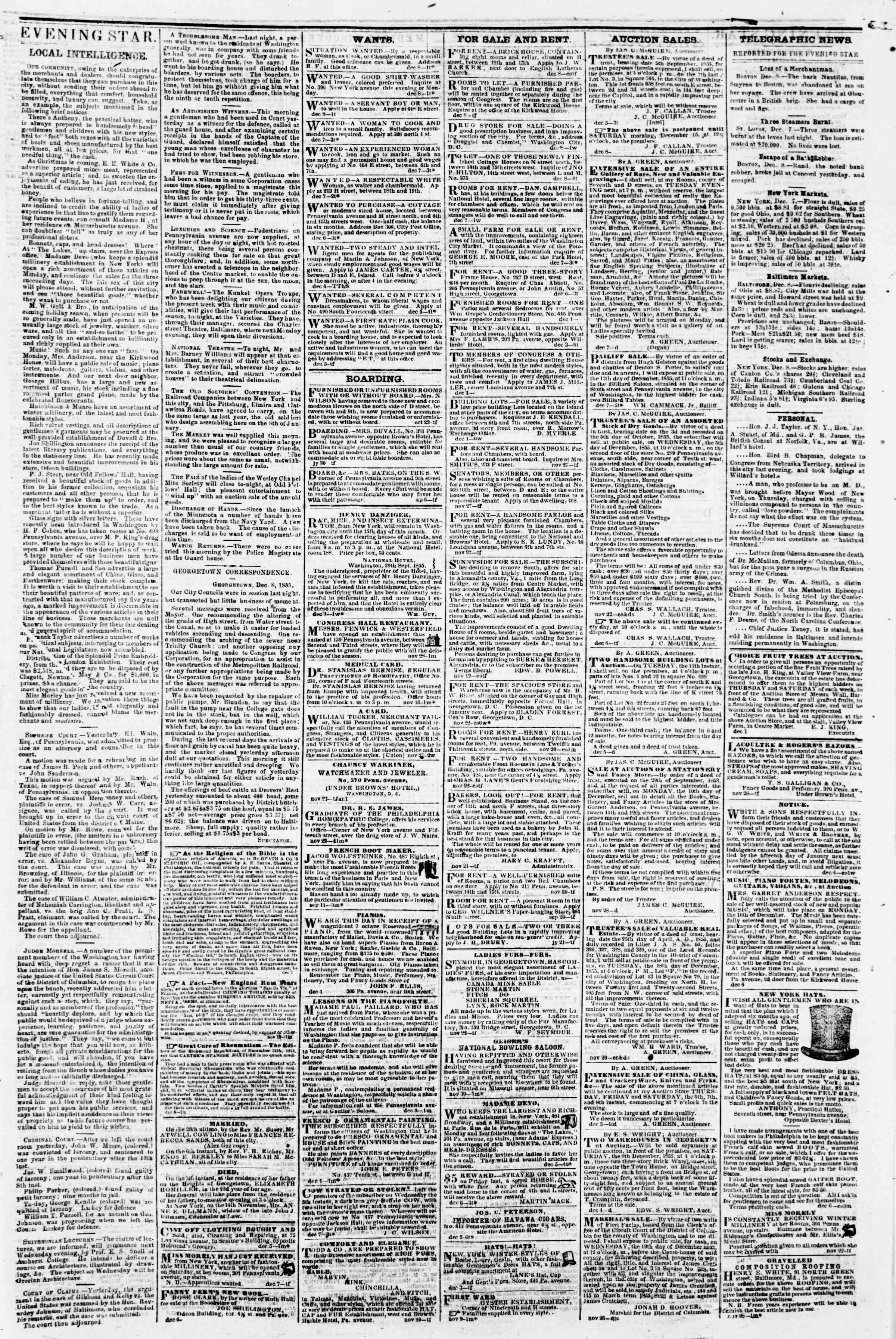 8 Aralık 1855 tarihli Evening Star Gazetesi Sayfa 3