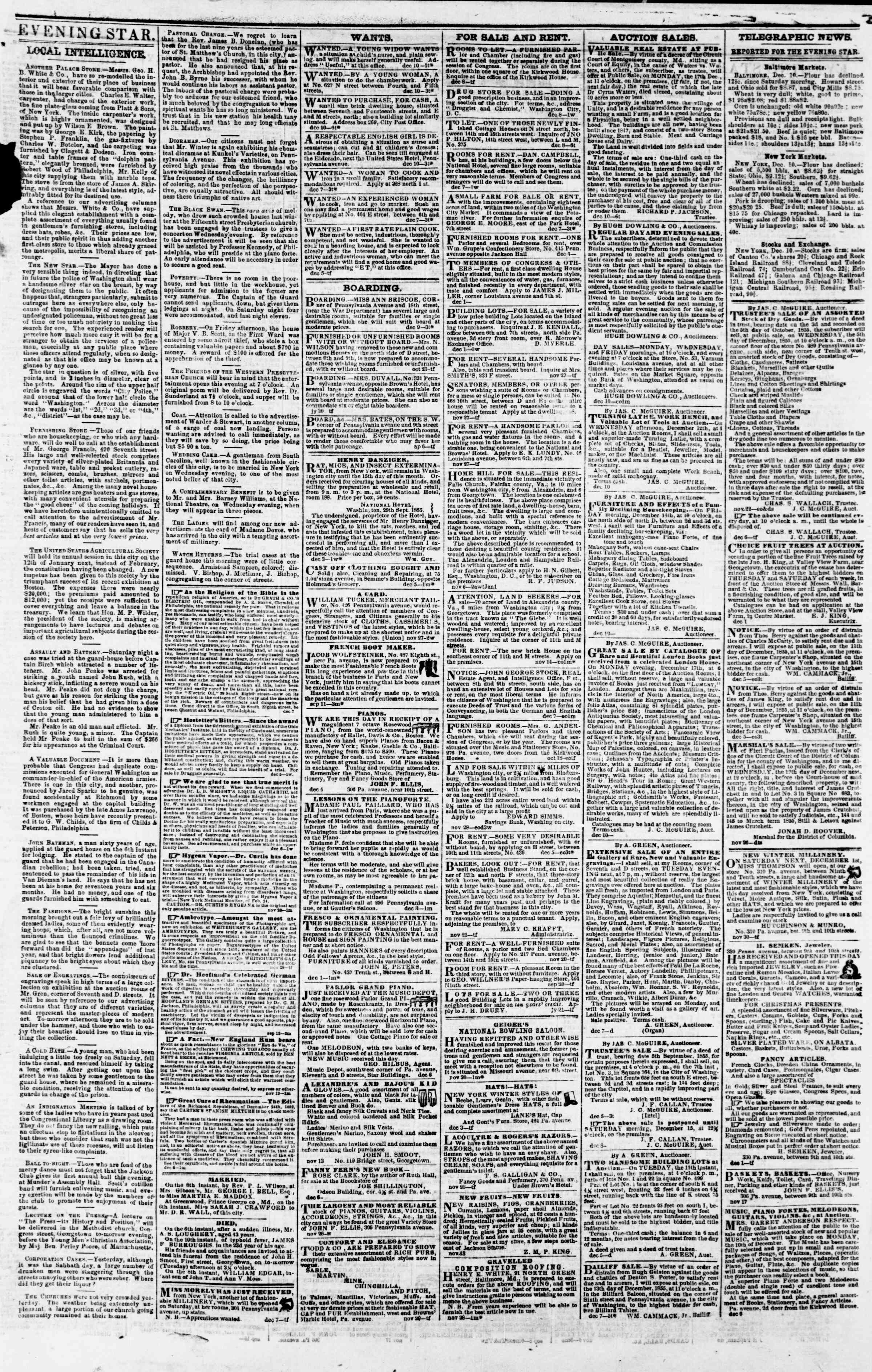 Newspaper of Evening Star dated December 10, 1855 Page 3