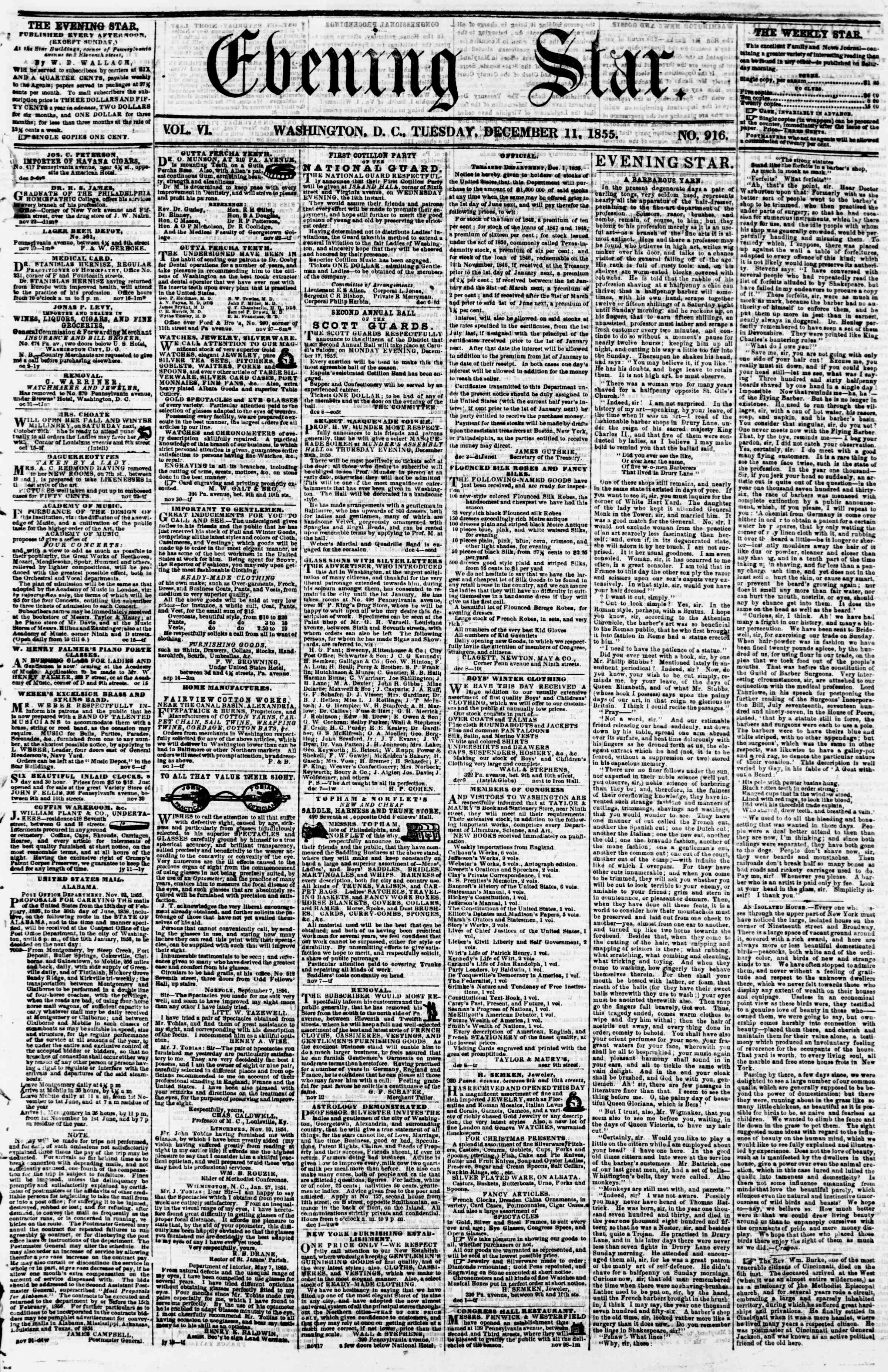 Newspaper of Evening Star dated December 11, 1855 Page 1