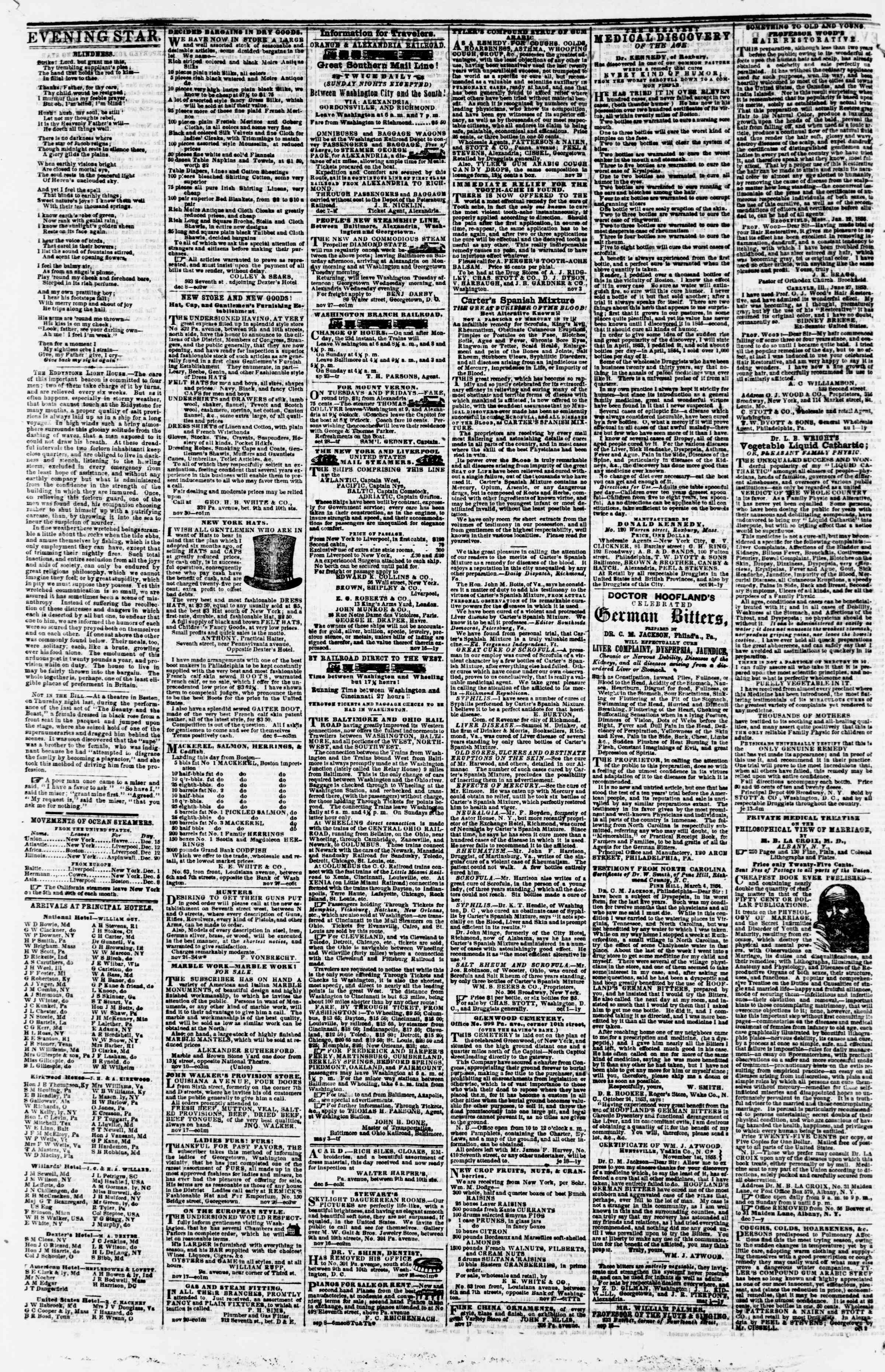 Newspaper of Evening Star dated December 11, 1855 Page 4