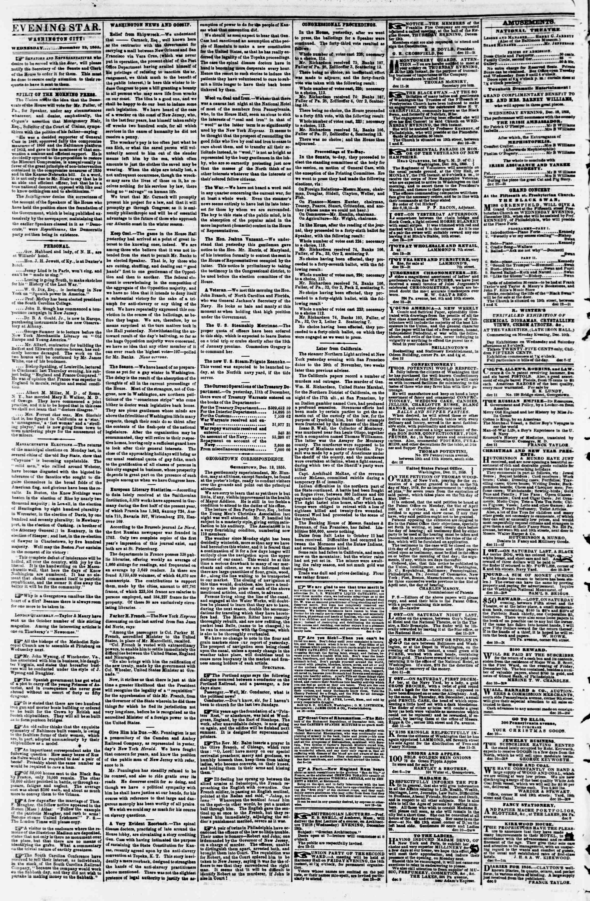 Newspaper of Evening Star dated December 12, 1855 Page 2