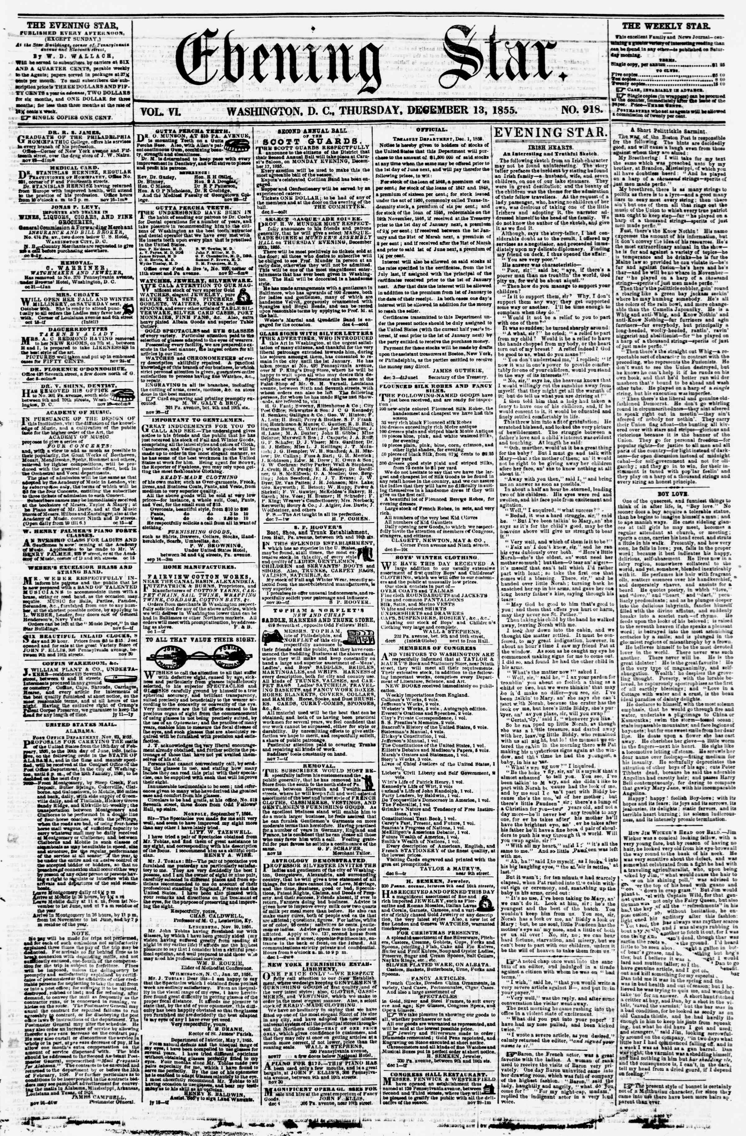 Newspaper of Evening Star dated December 13, 1855 Page 1