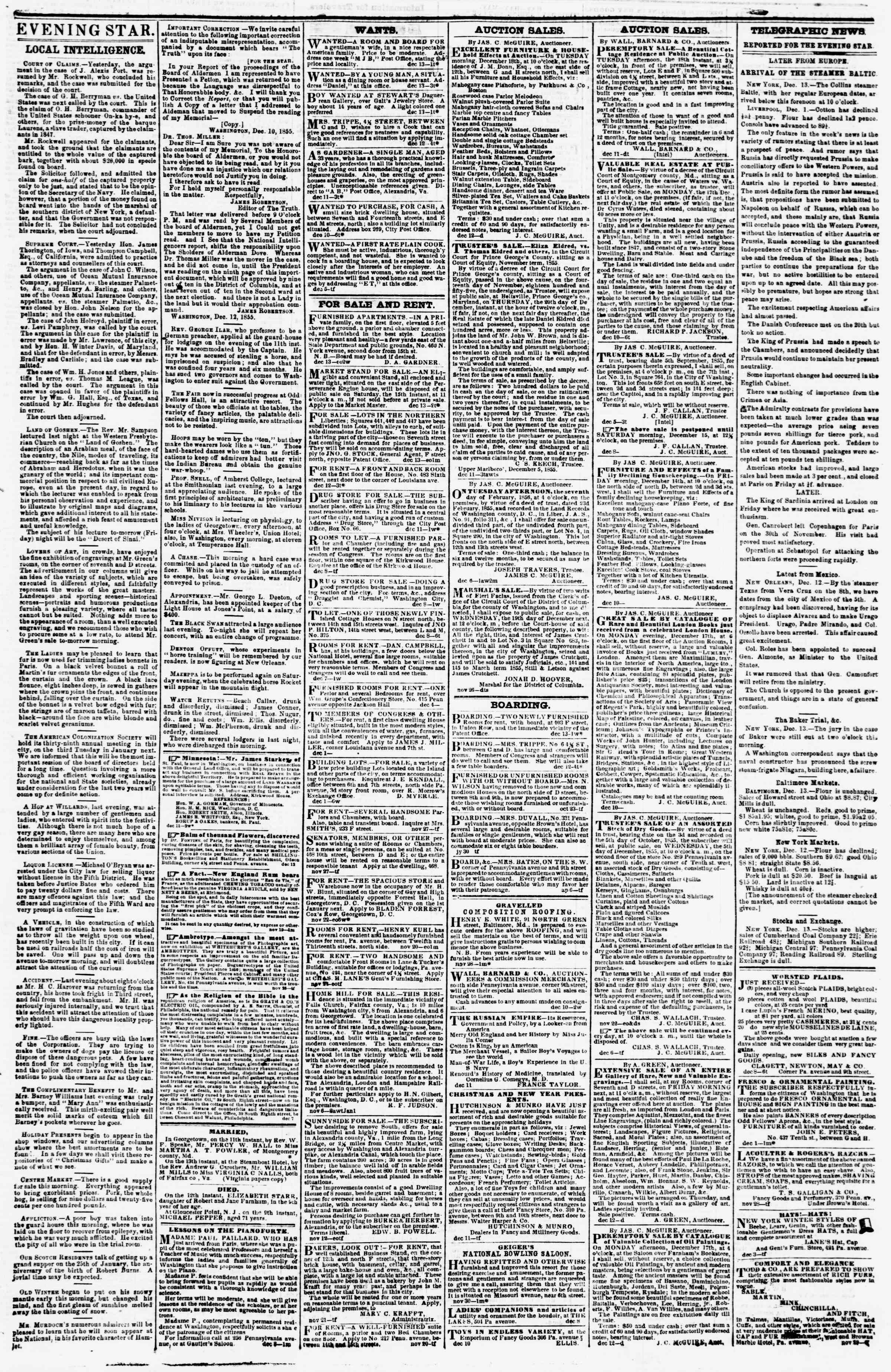Newspaper of Evening Star dated December 13, 1855 Page 3