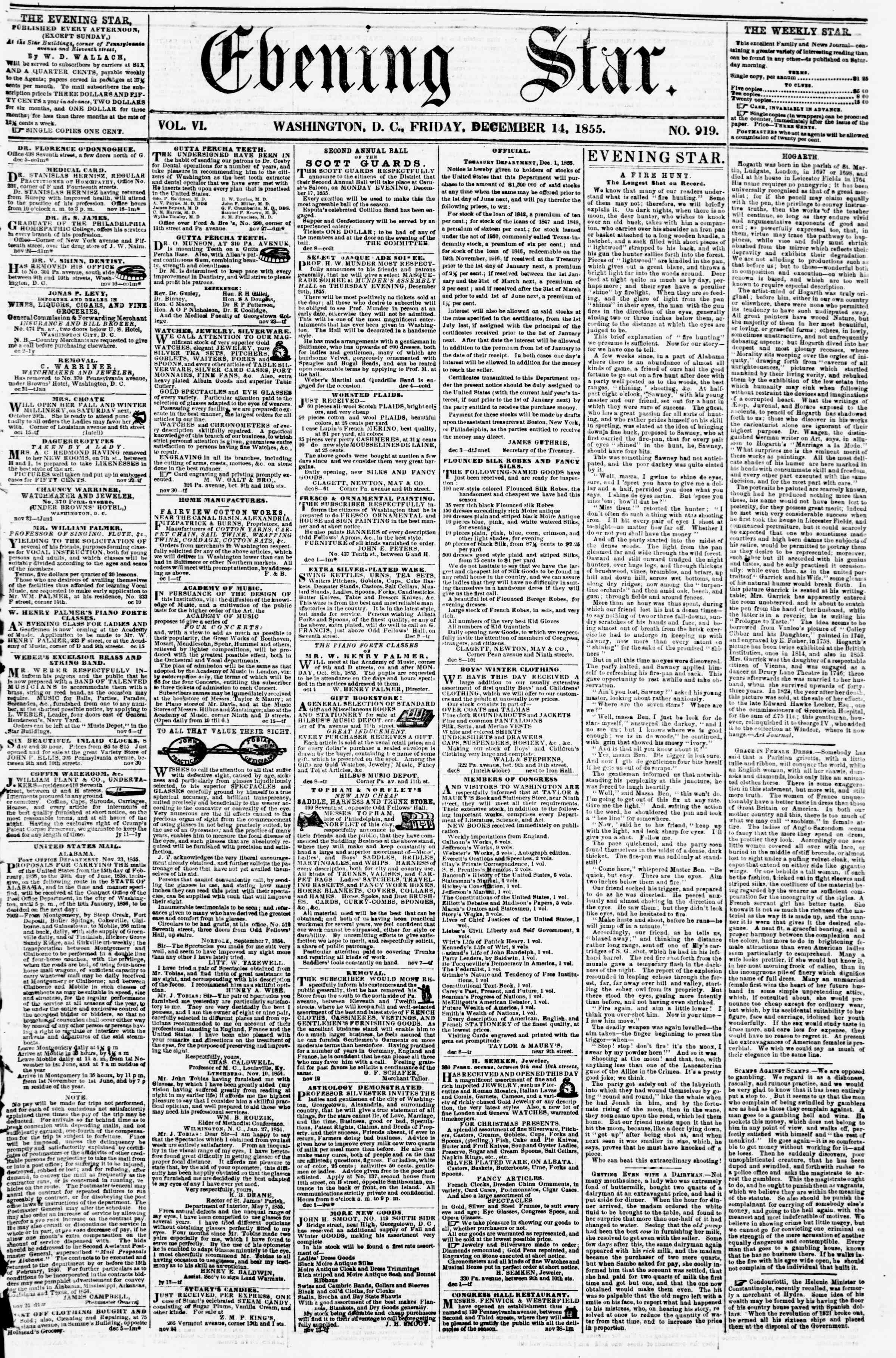 Newspaper of Evening Star dated December 14, 1855 Page 1