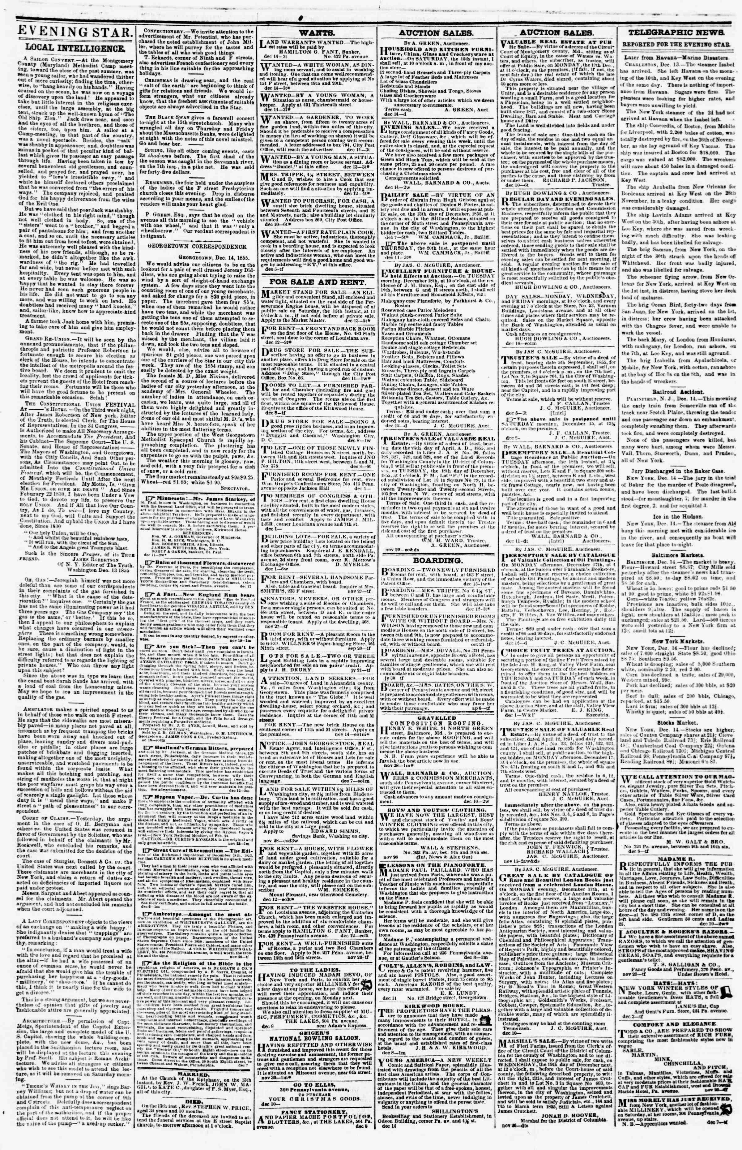 Newspaper of Evening Star dated December 14, 1855 Page 3