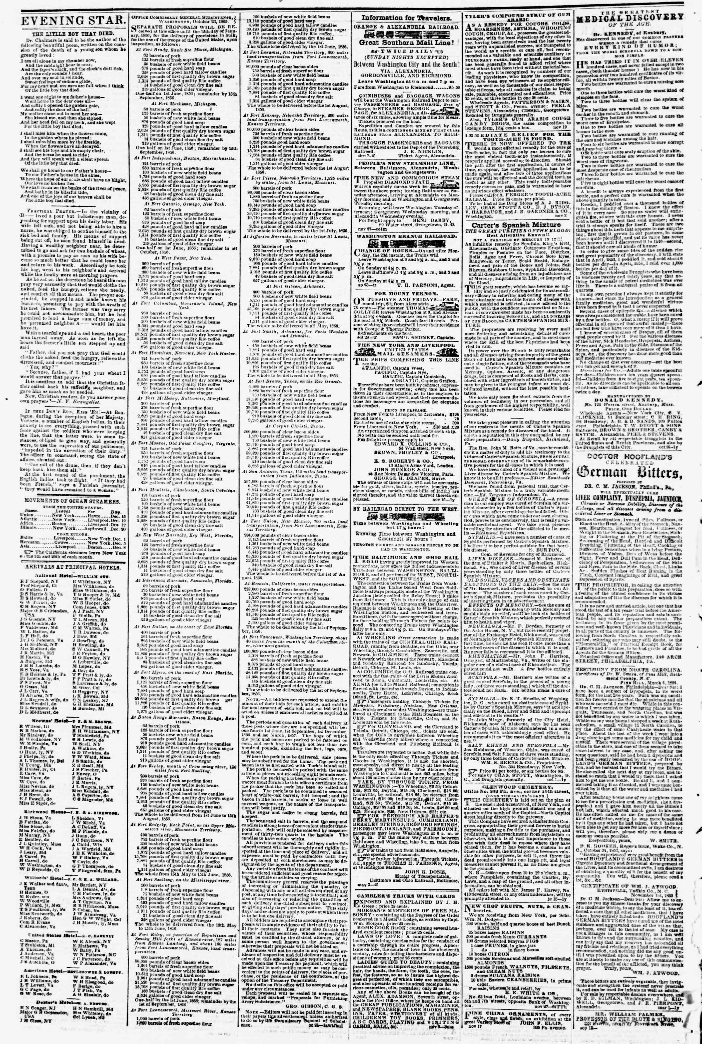 14 Aralık 1855 tarihli Evening Star Gazetesi Sayfa 4