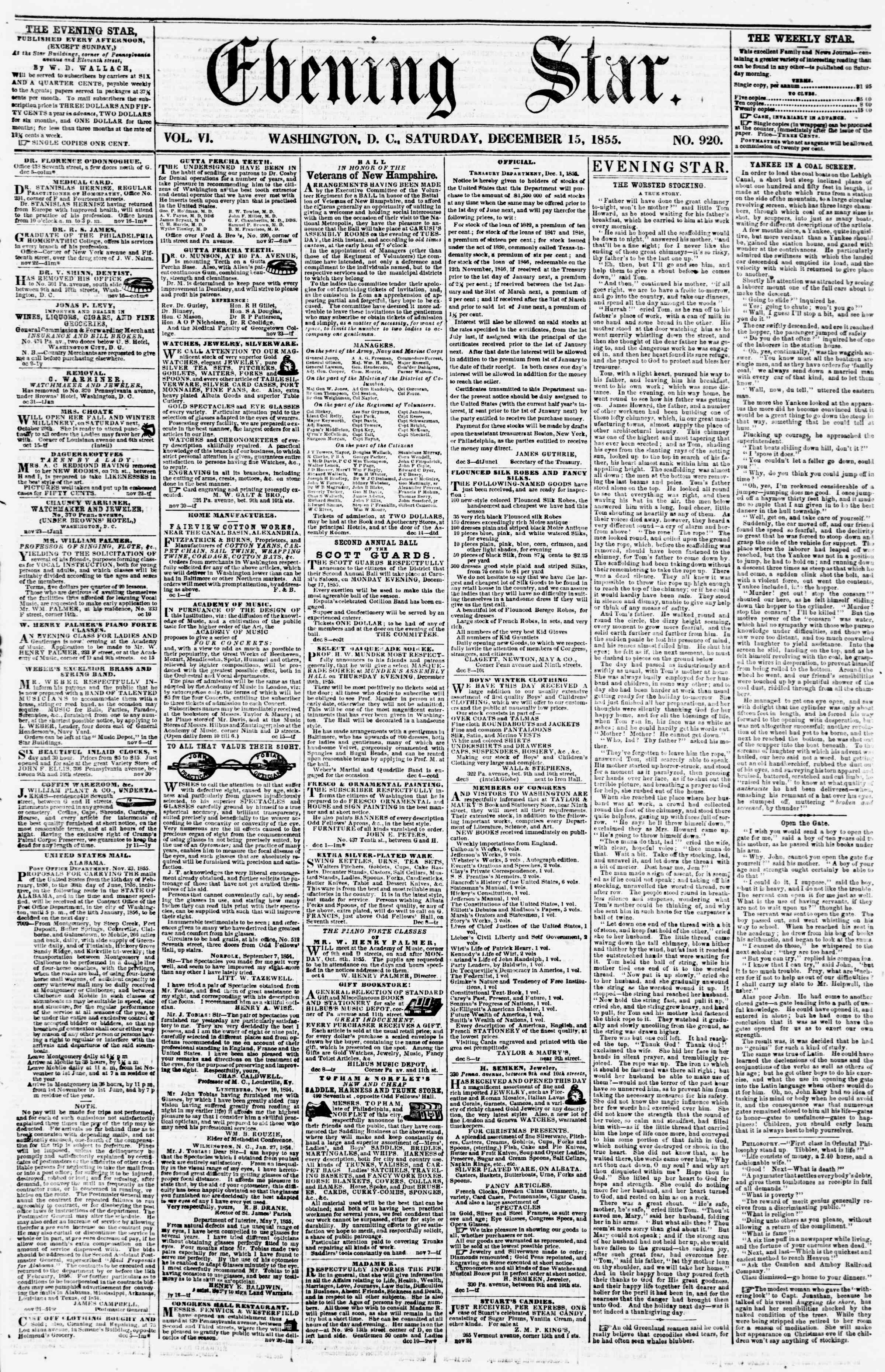 Newspaper of Evening Star dated December 15, 1855 Page 1