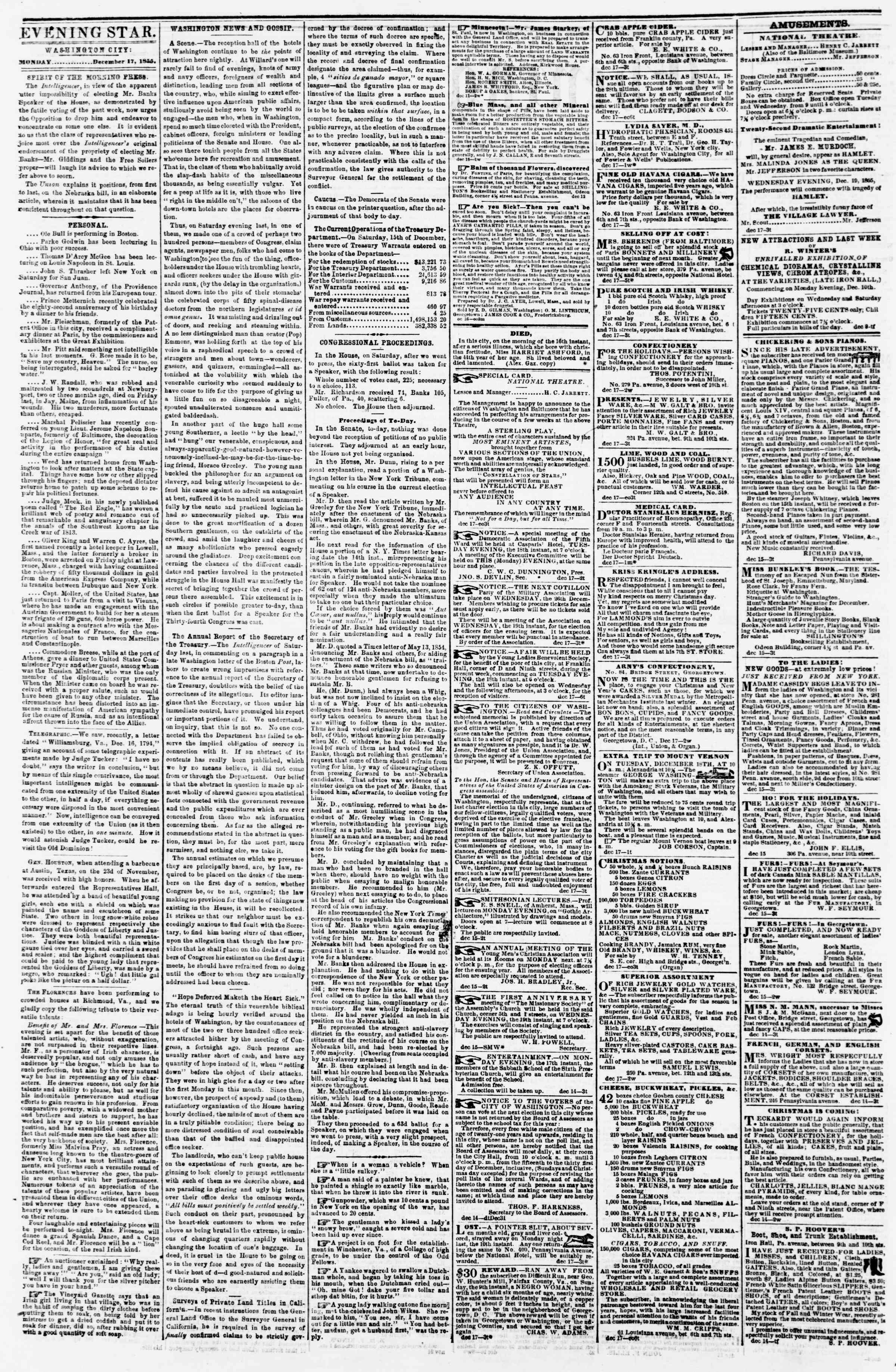 Newspaper of Evening Star dated December 17, 1855 Page 2