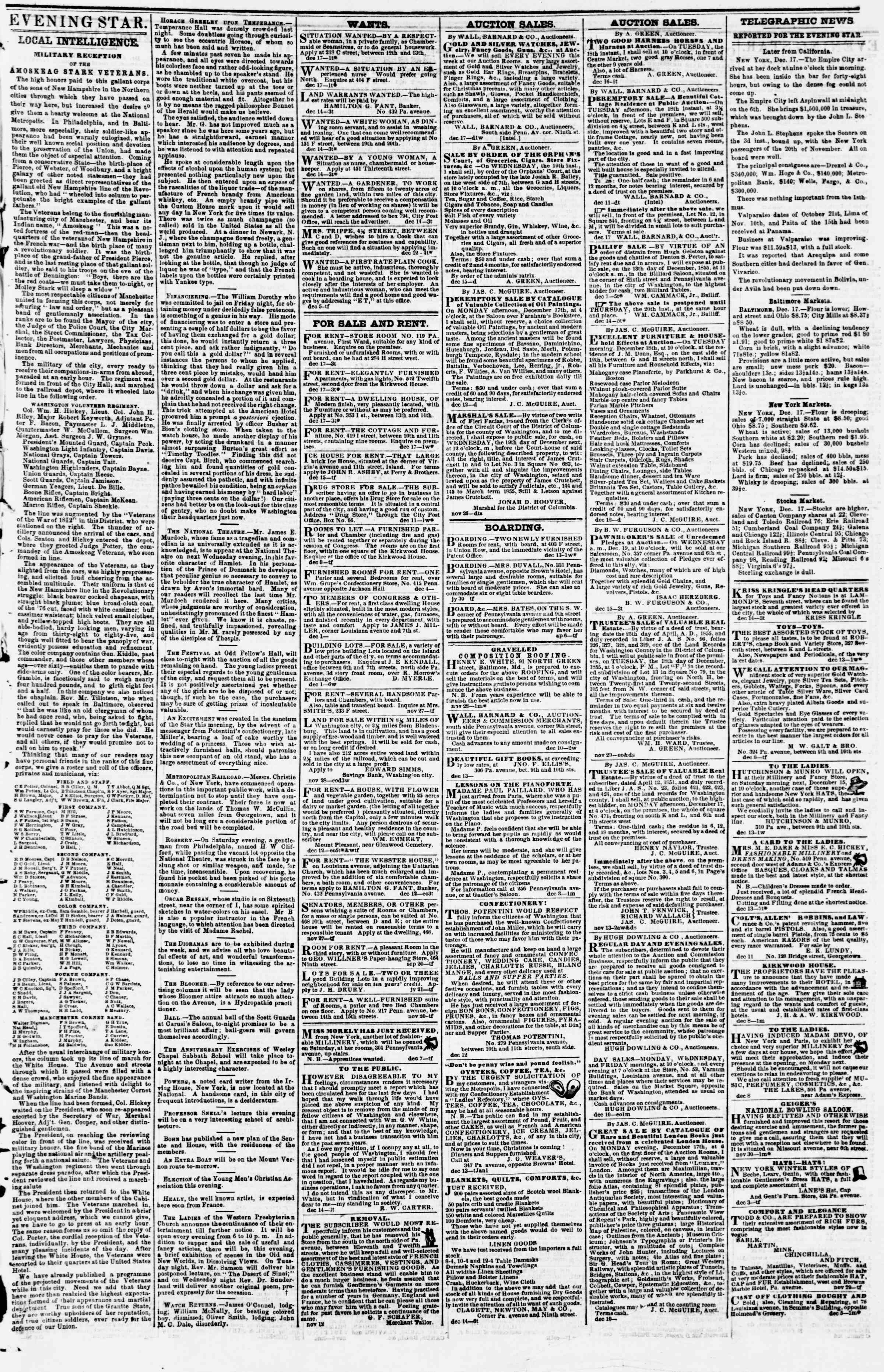 Newspaper of Evening Star dated December 17, 1855 Page 3