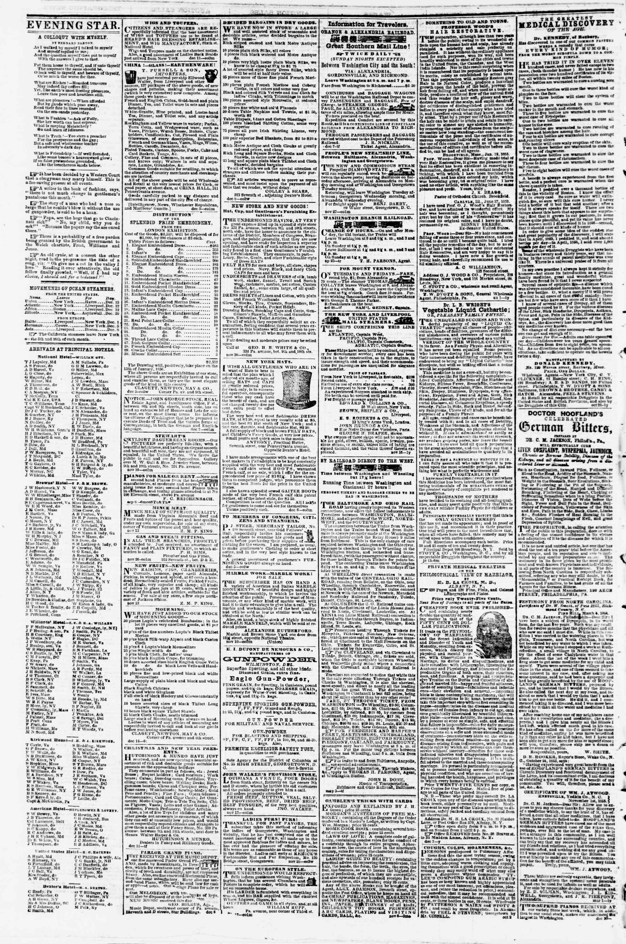 Newspaper of Evening Star dated December 17, 1855 Page 4
