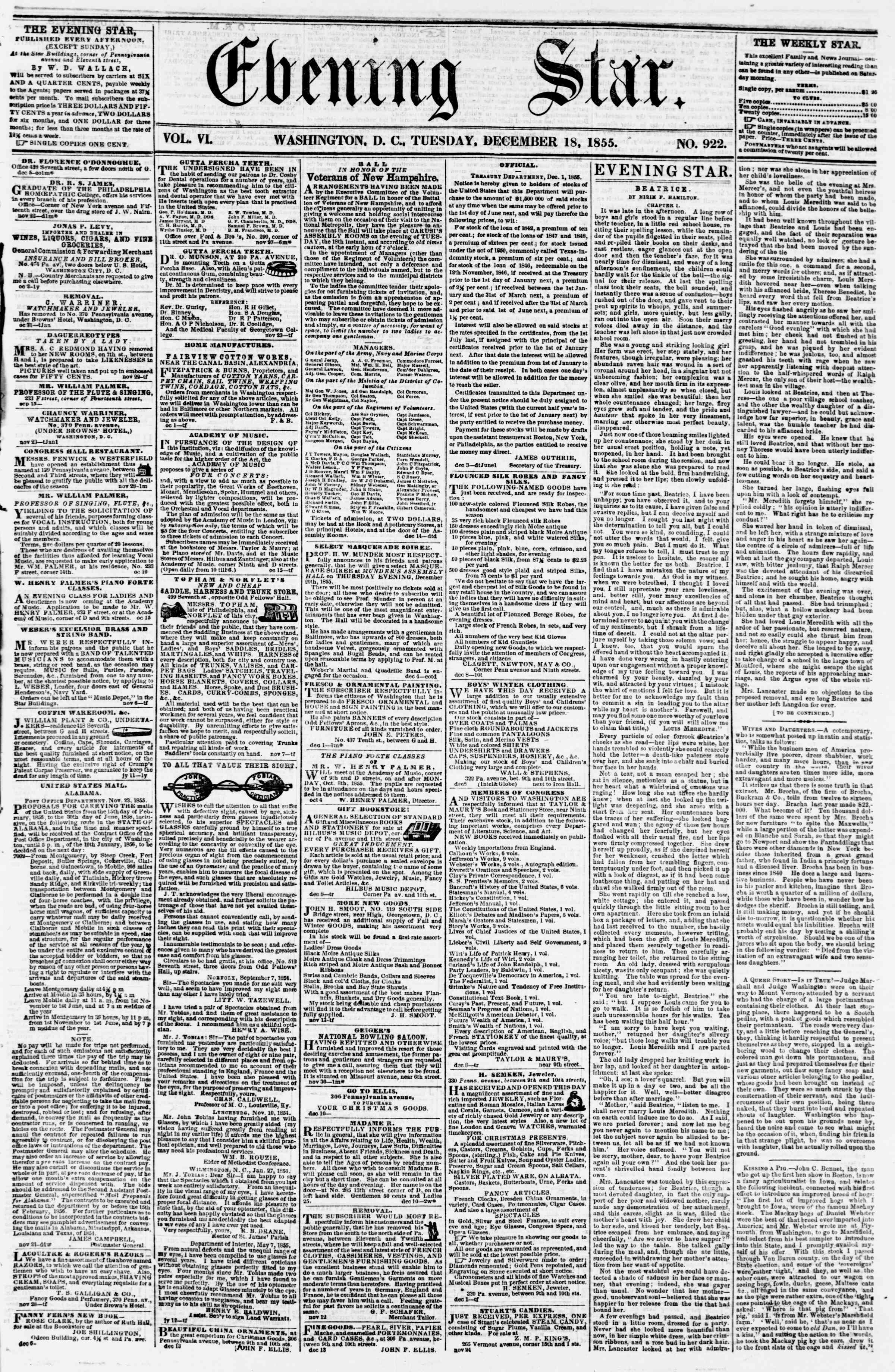 Newspaper of Evening Star dated December 18, 1855 Page 1