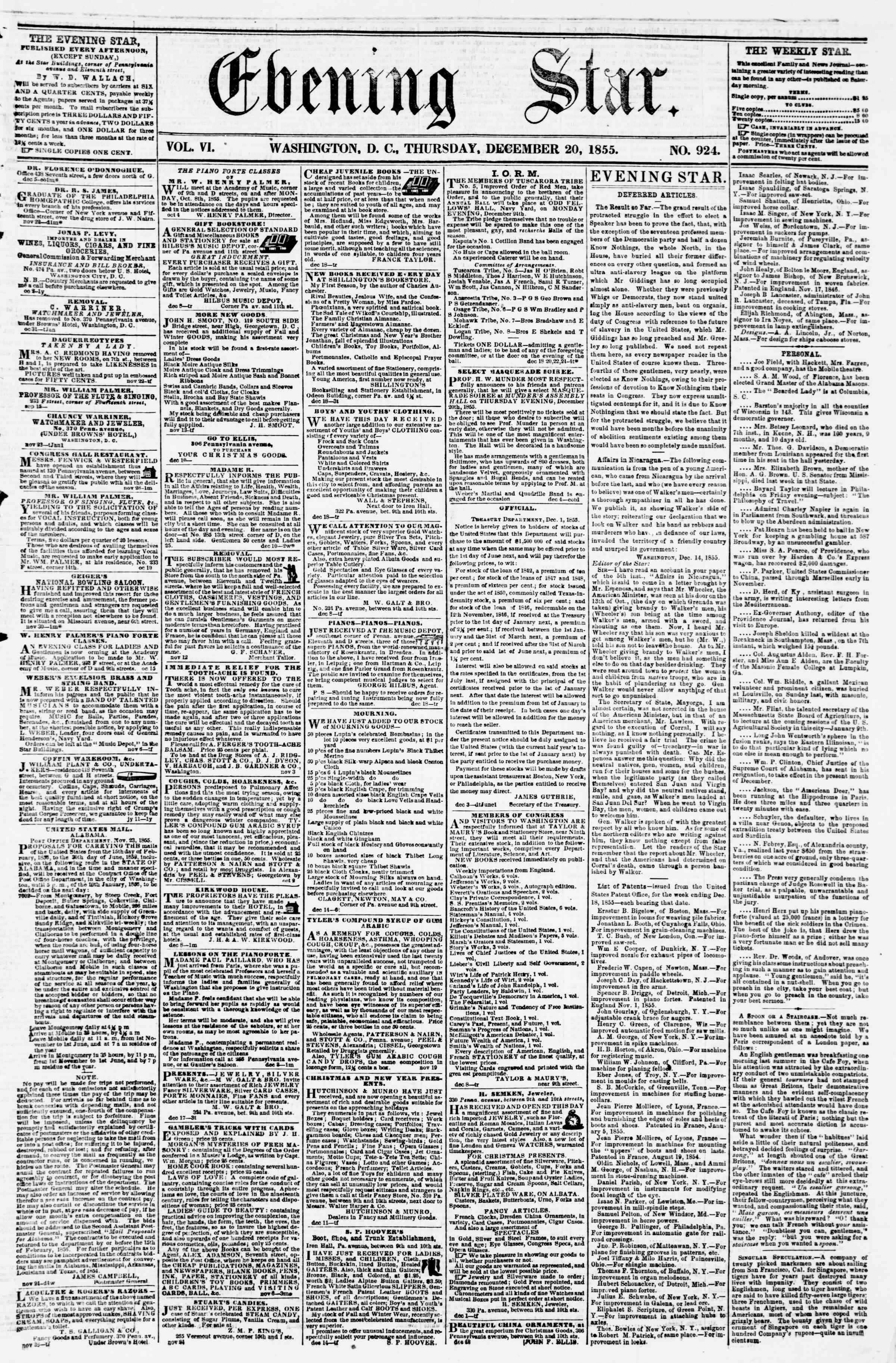 Newspaper of Evening Star dated December 20, 1855 Page 1