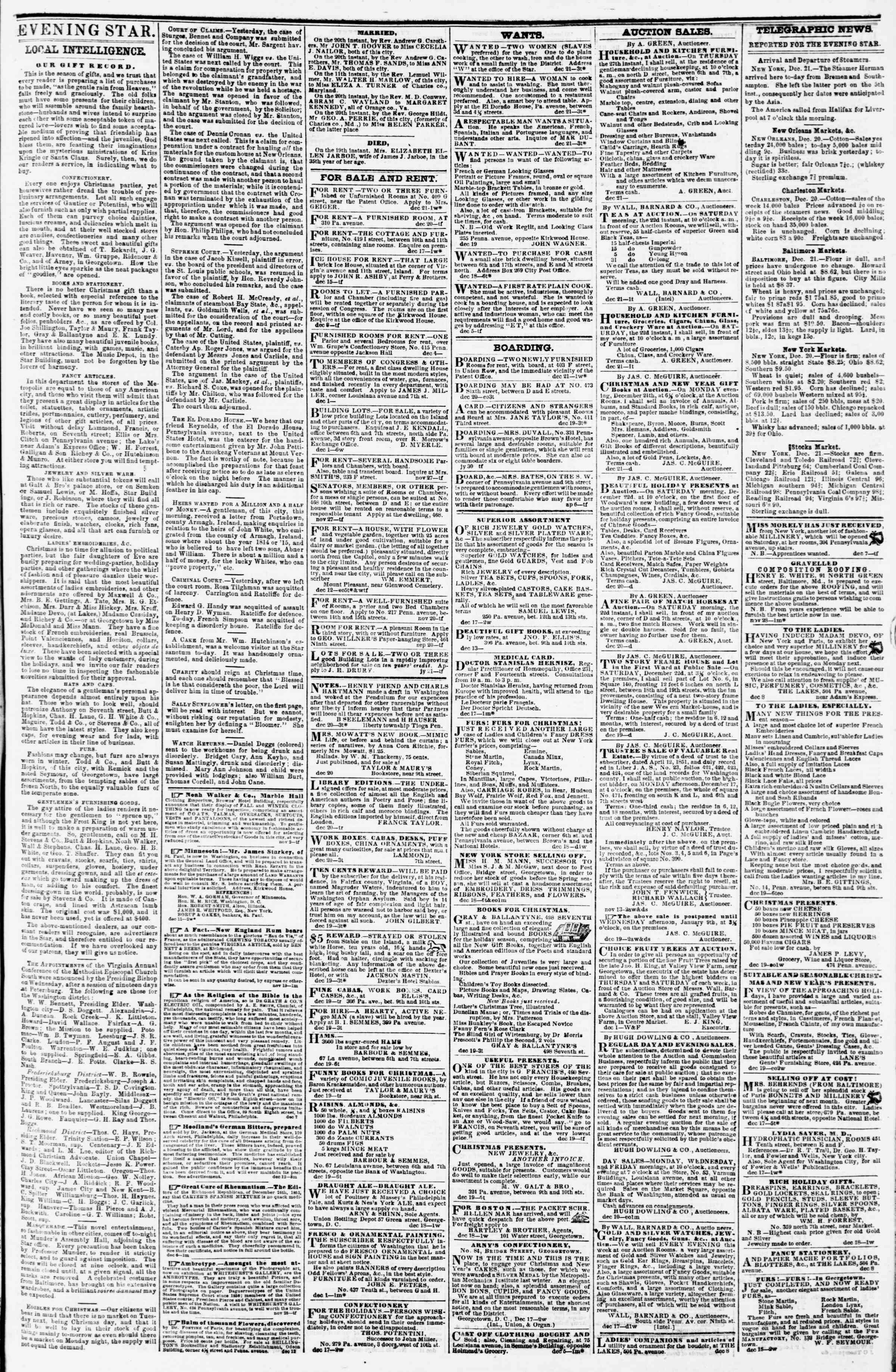 Newspaper of Evening Star dated December 21, 1855 Page 3