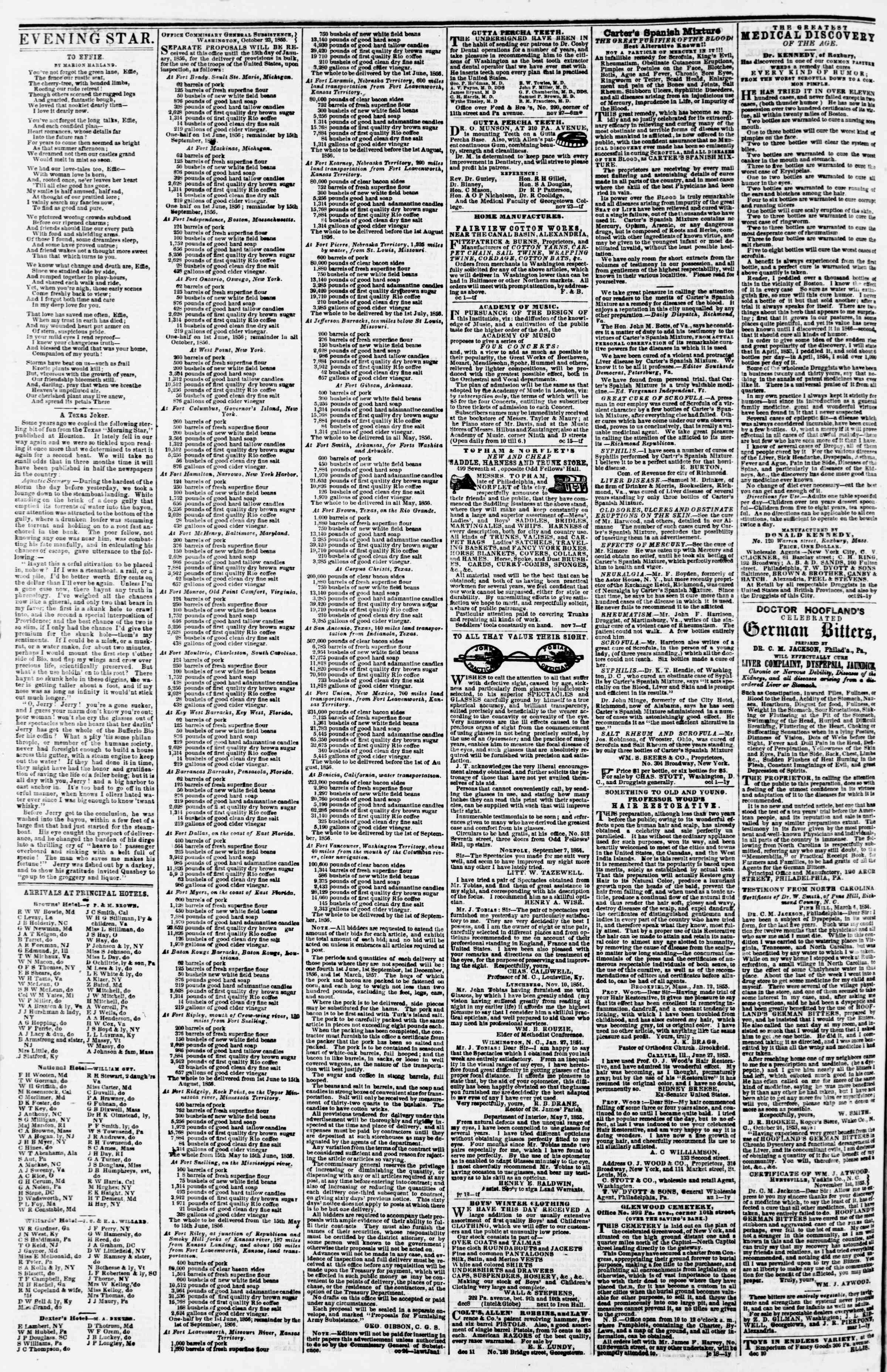 Newspaper of Evening Star dated December 21, 1855 Page 4