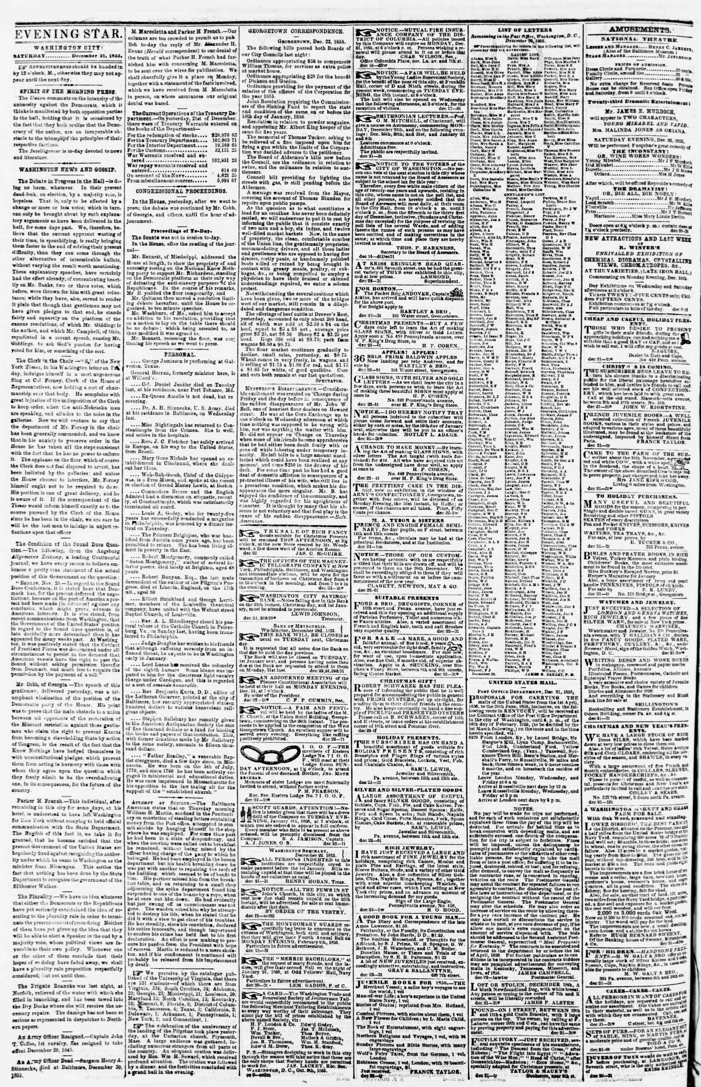 Newspaper of Evening Star dated December 22, 1855 Page 2