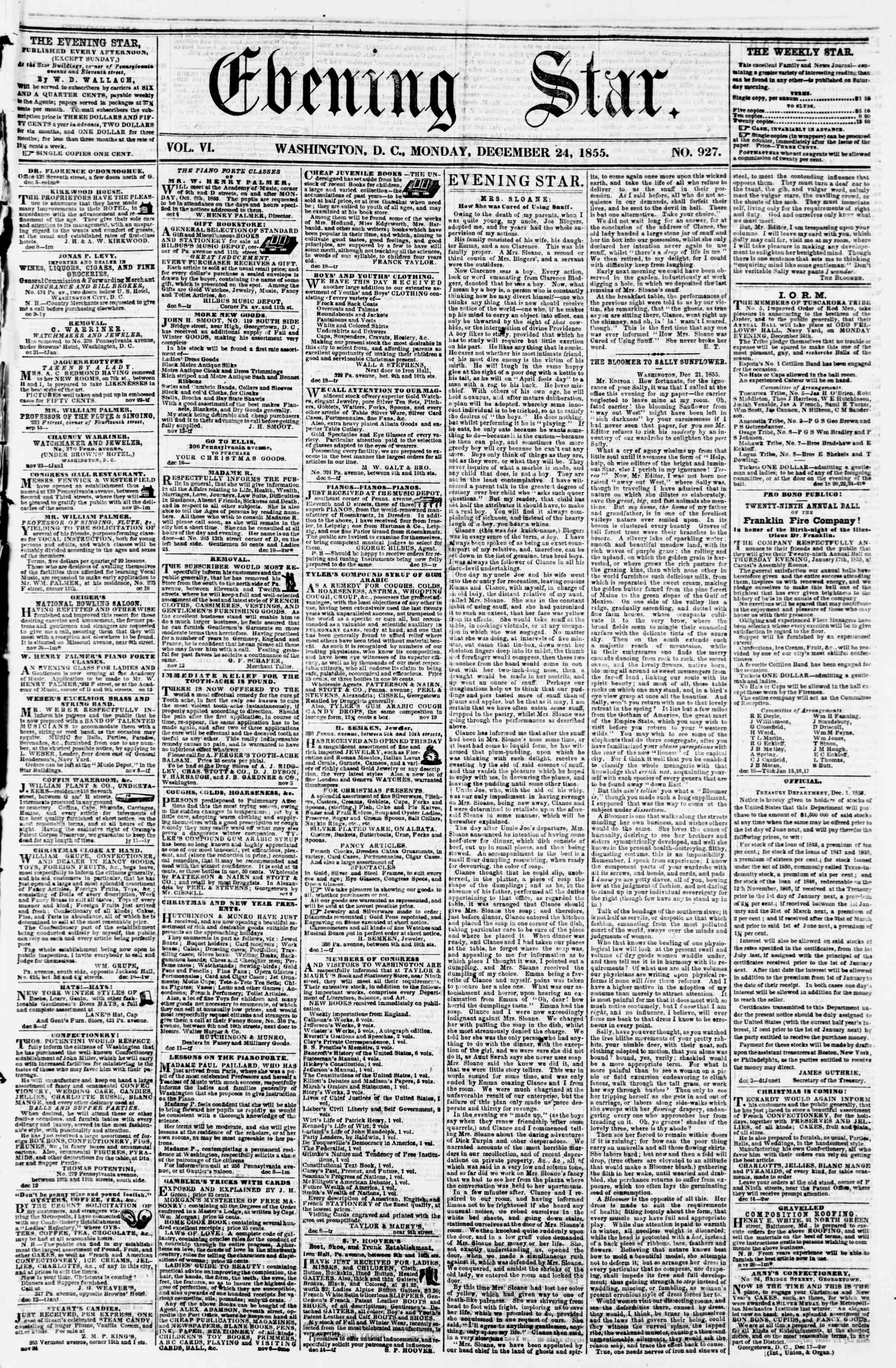 Newspaper of Evening Star dated December 24, 1855 Page 1