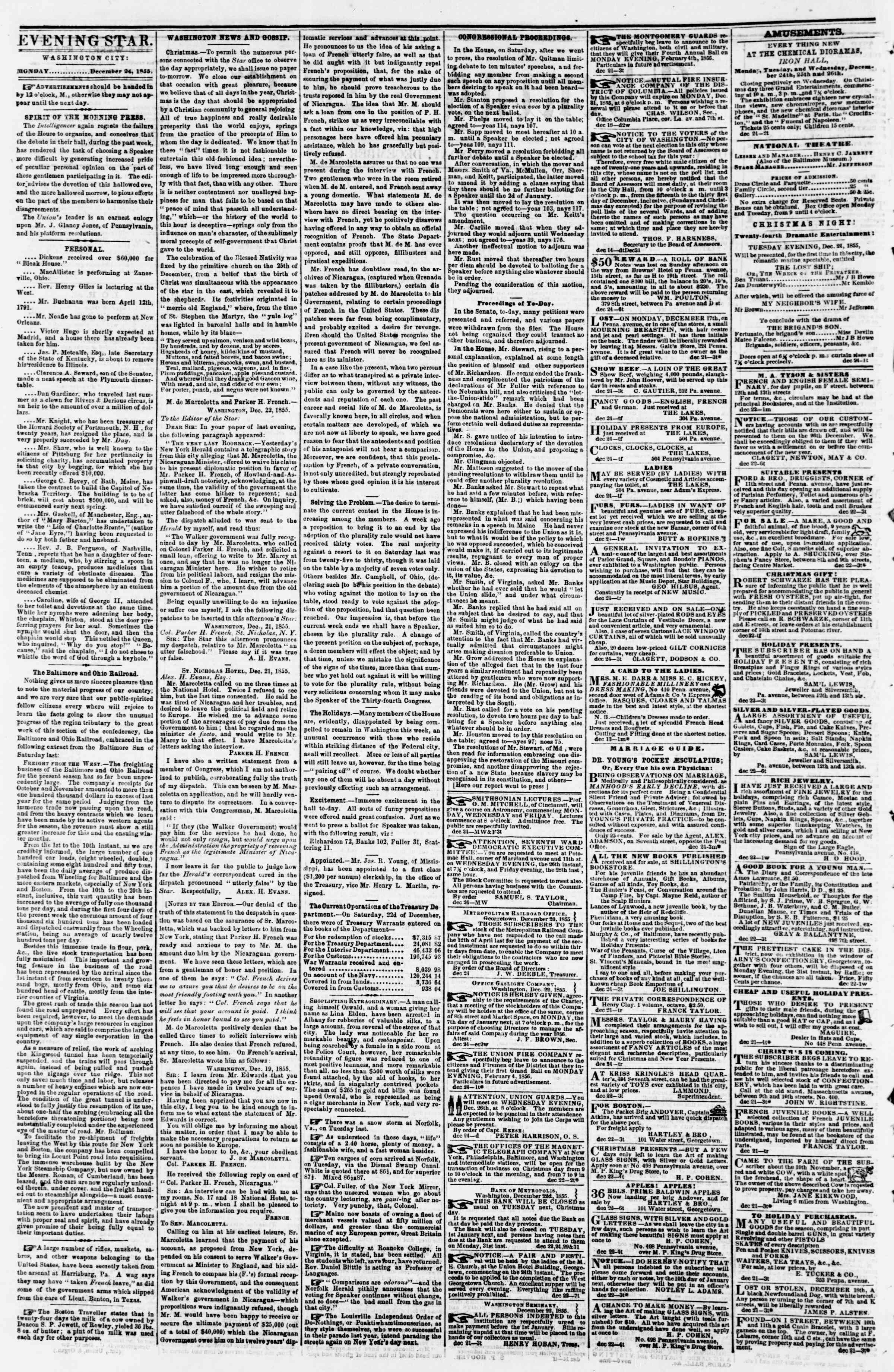 Newspaper of Evening Star dated December 24, 1855 Page 2