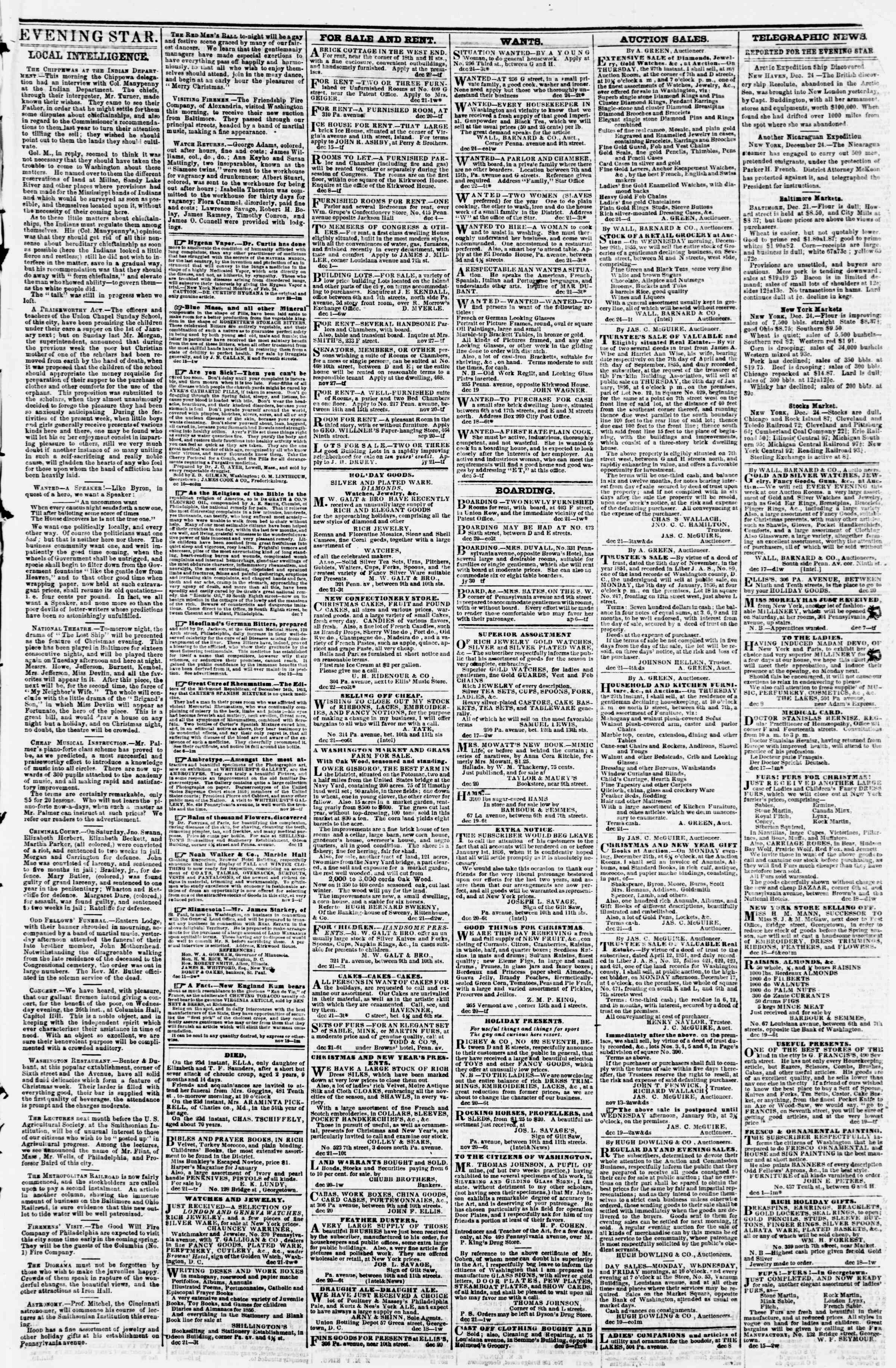 Newspaper of Evening Star dated December 24, 1855 Page 3