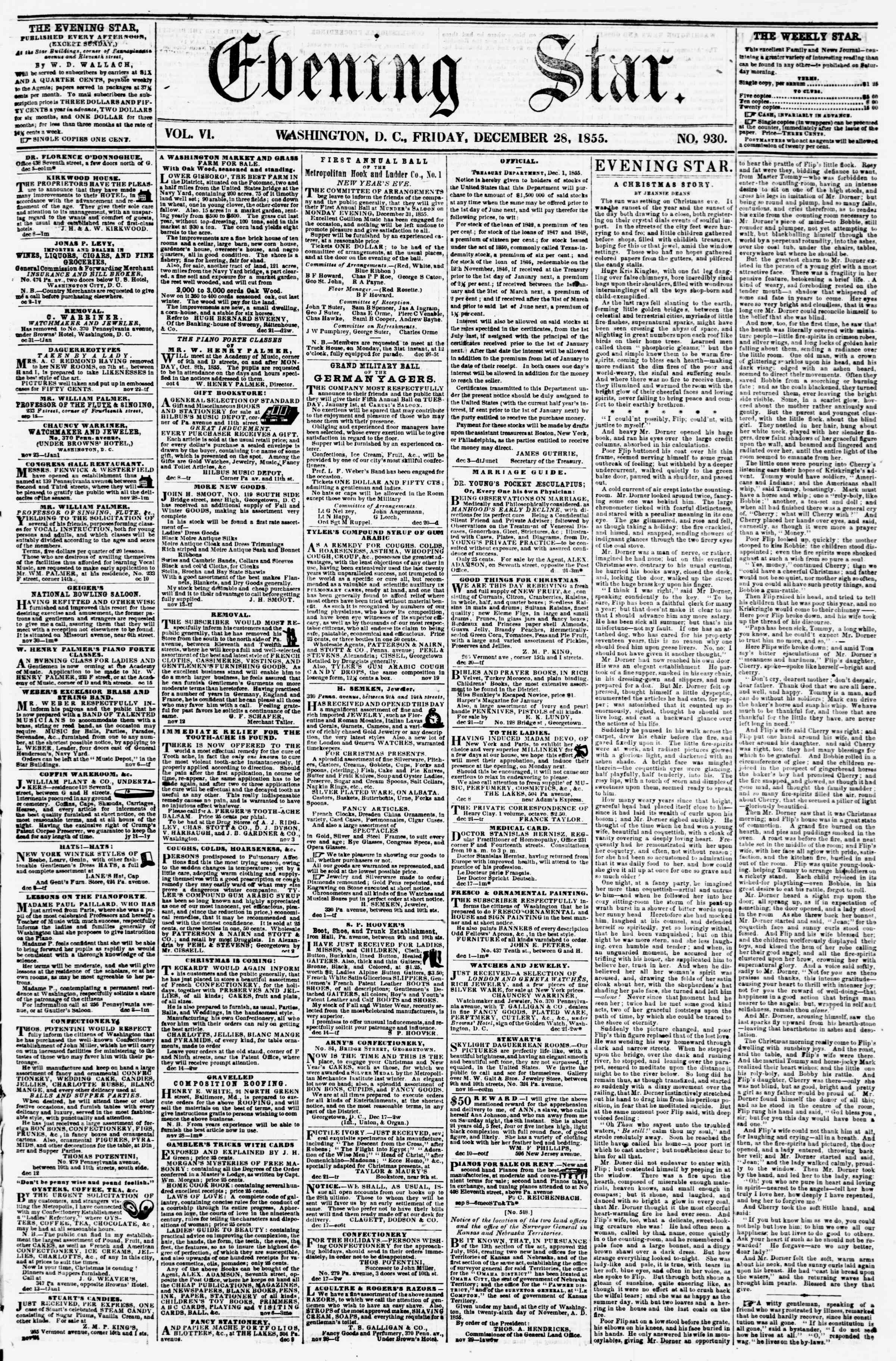 Newspaper of Evening Star dated December 28, 1855 Page 1