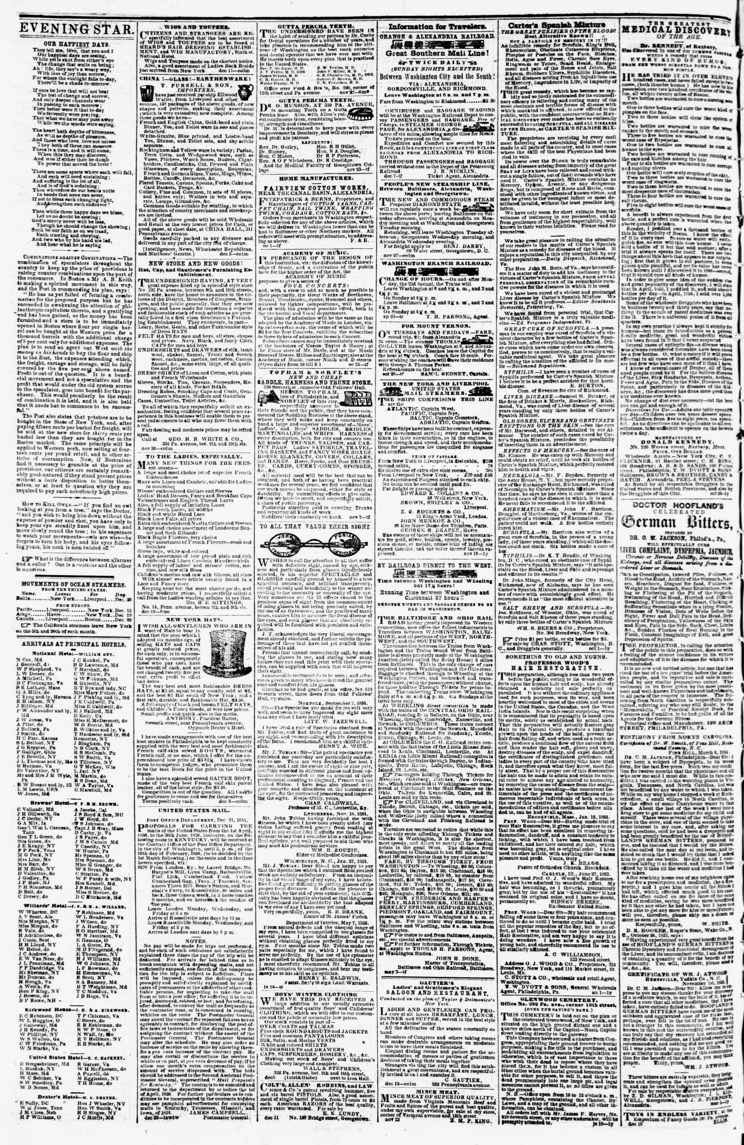Newspaper of Evening Star dated December 28, 1855 Page 4