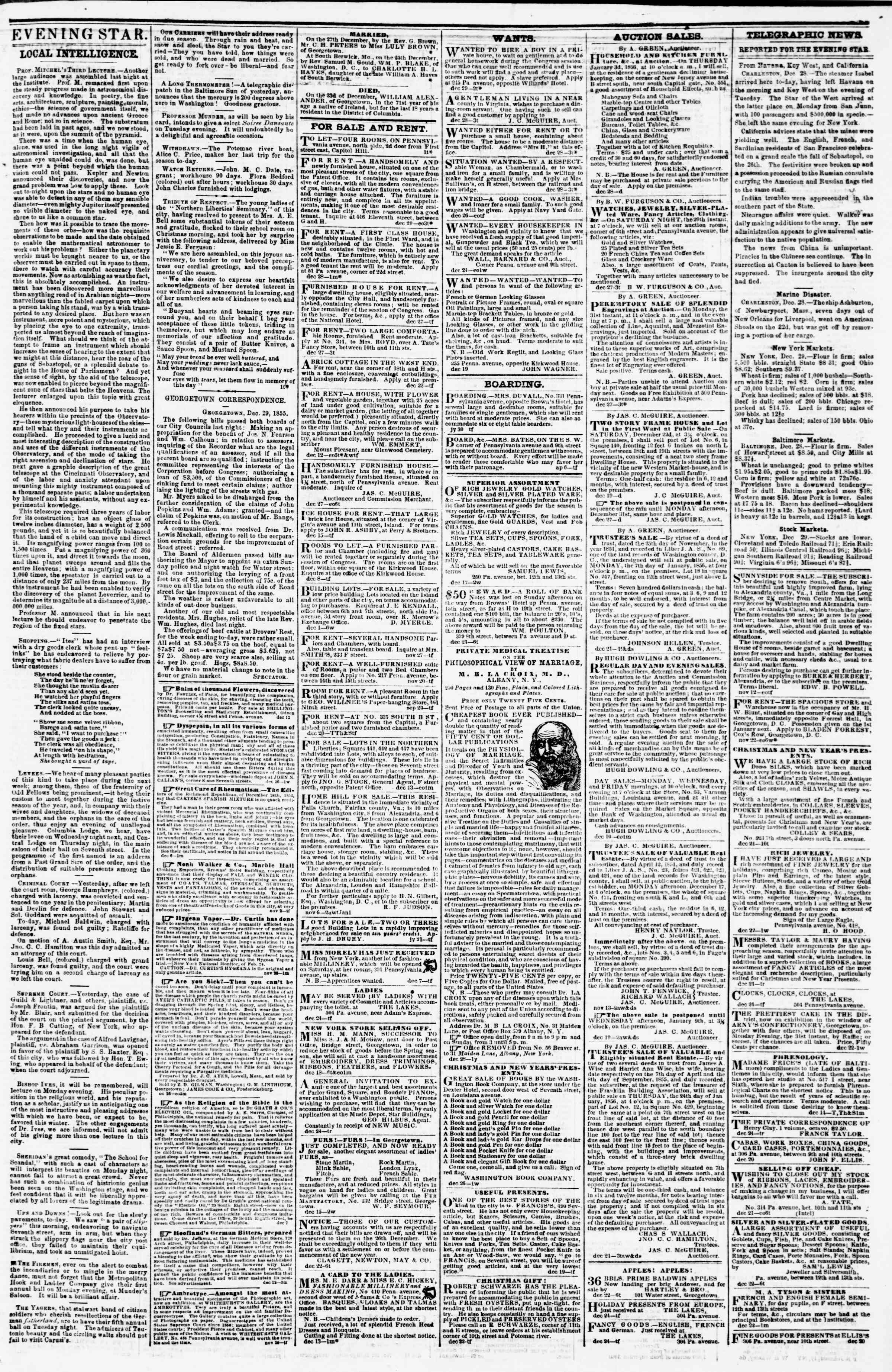 Newspaper of Evening Star dated December 29, 1855 Page 3