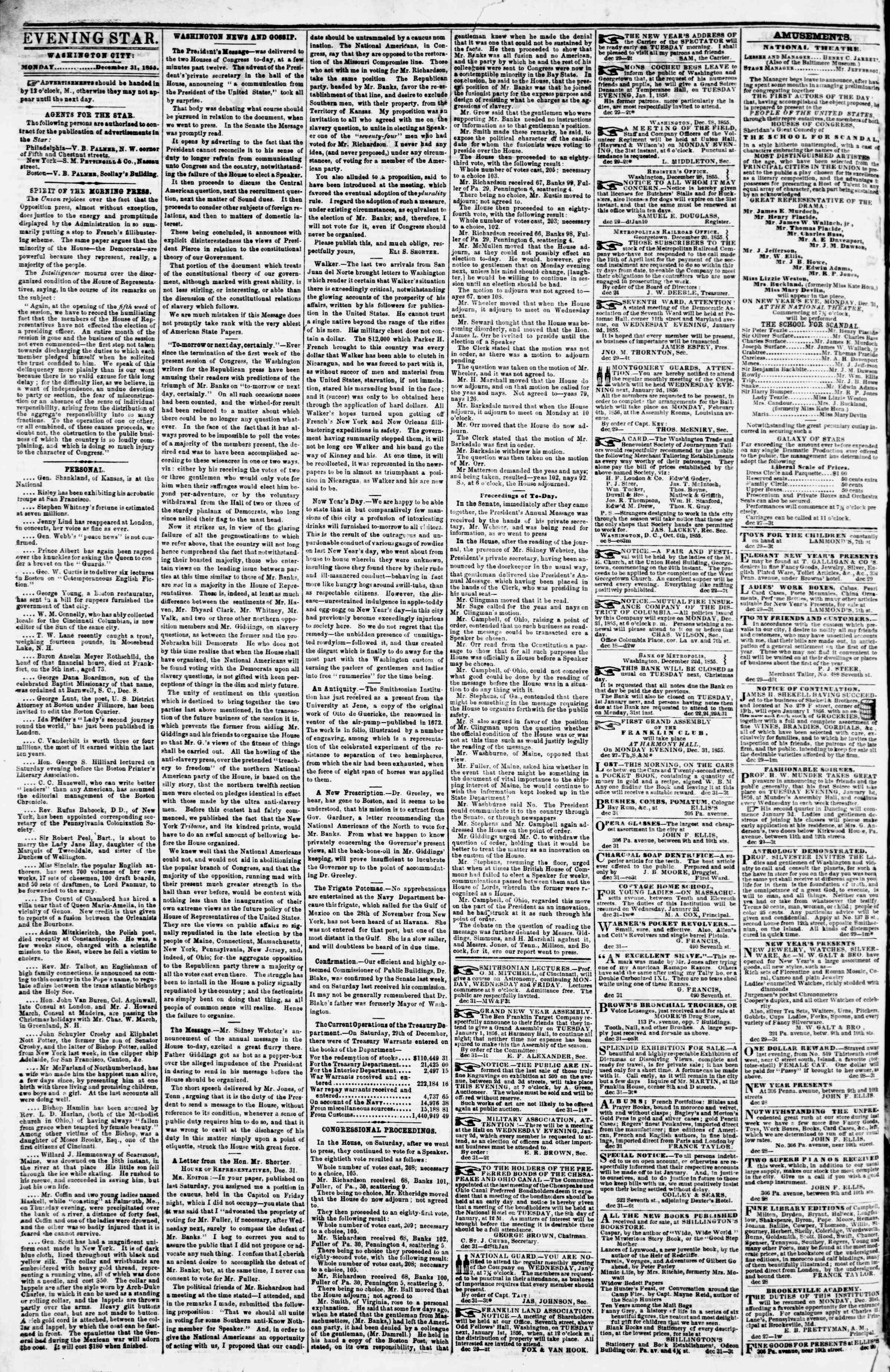 Newspaper of Evening Star dated December 31, 1855 Page 2