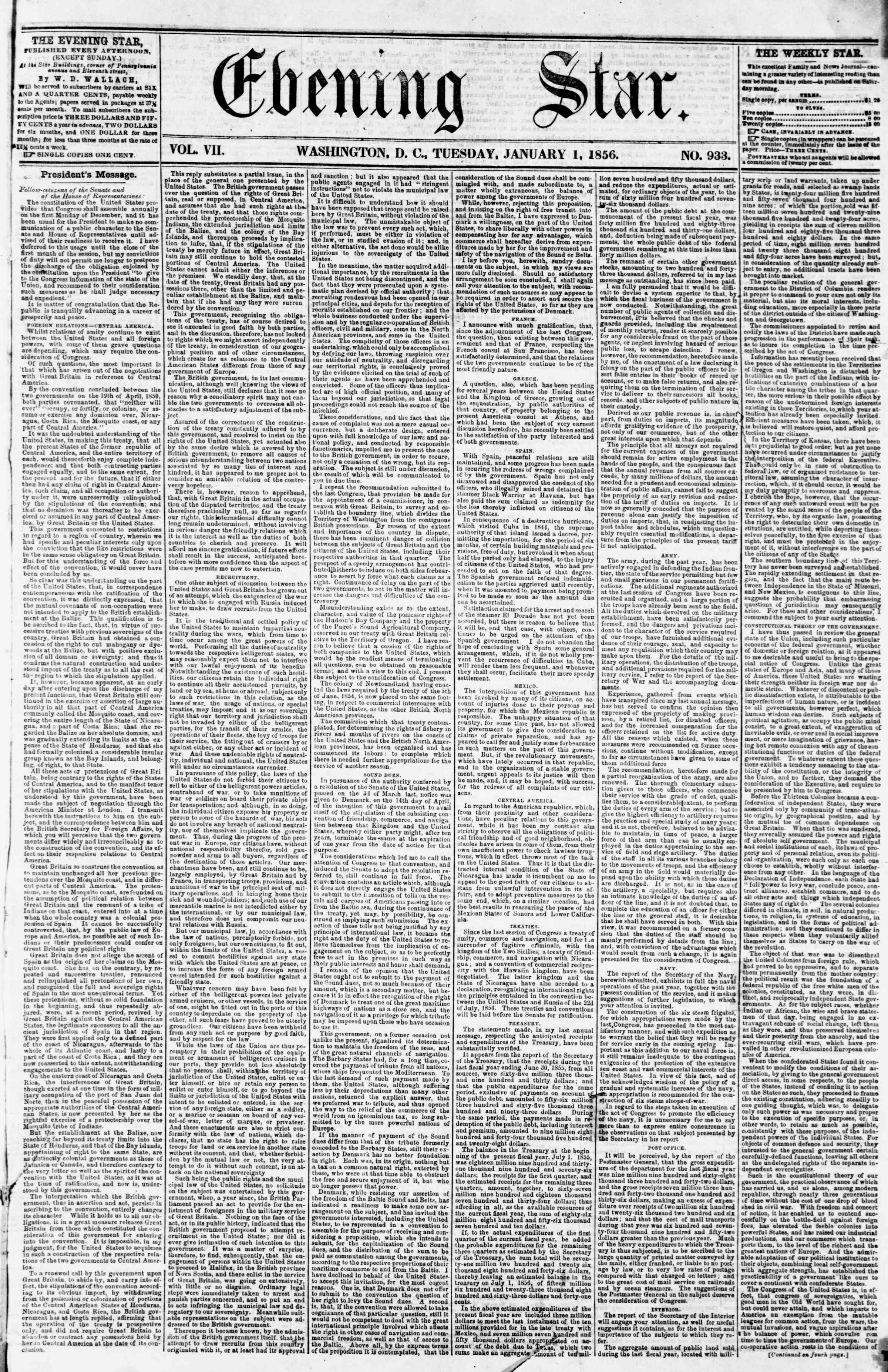 Newspaper of Evening Star dated January 1, 1856 Page 1