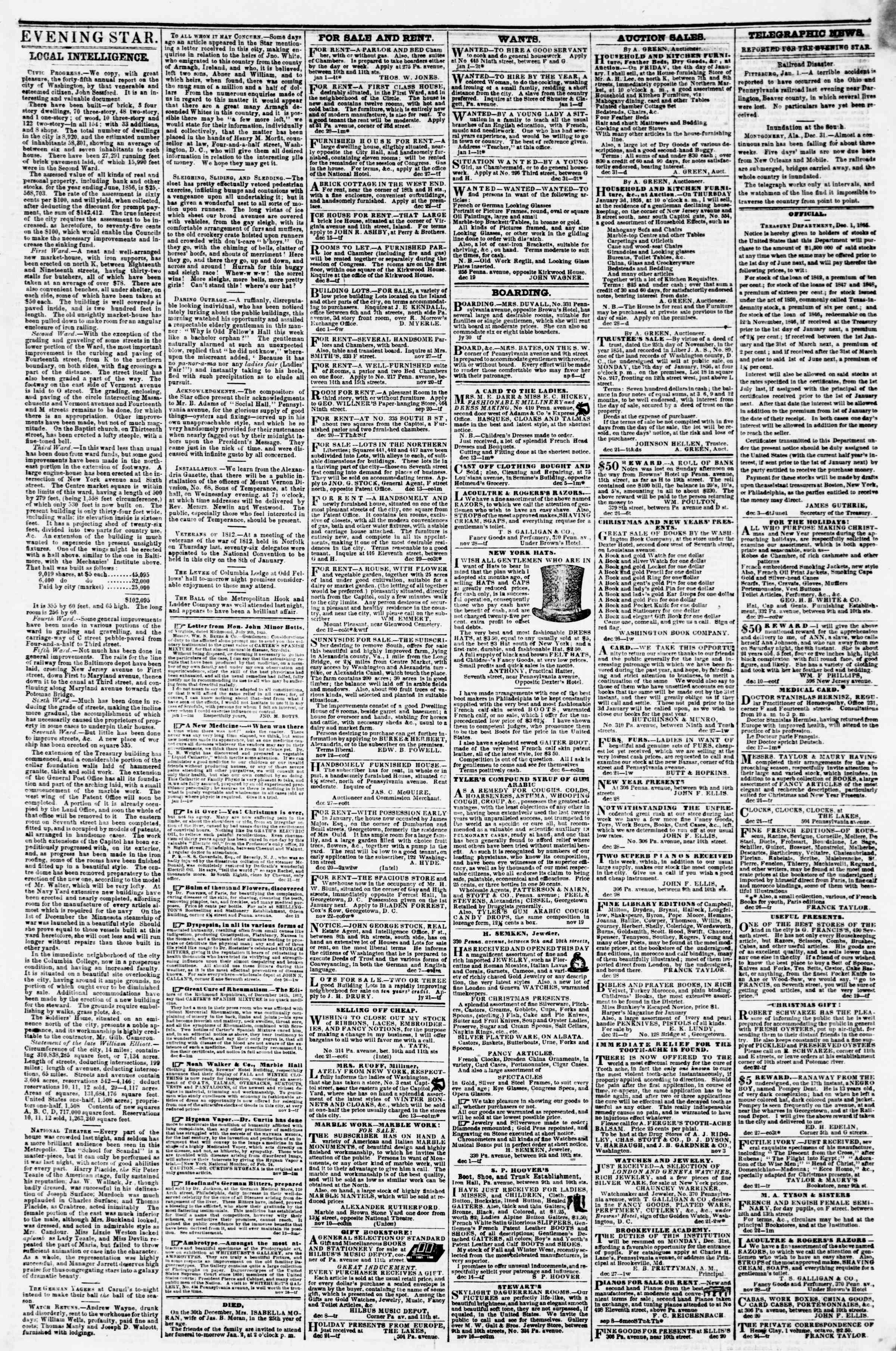 Newspaper of Evening Star dated January 1, 1856 Page 3