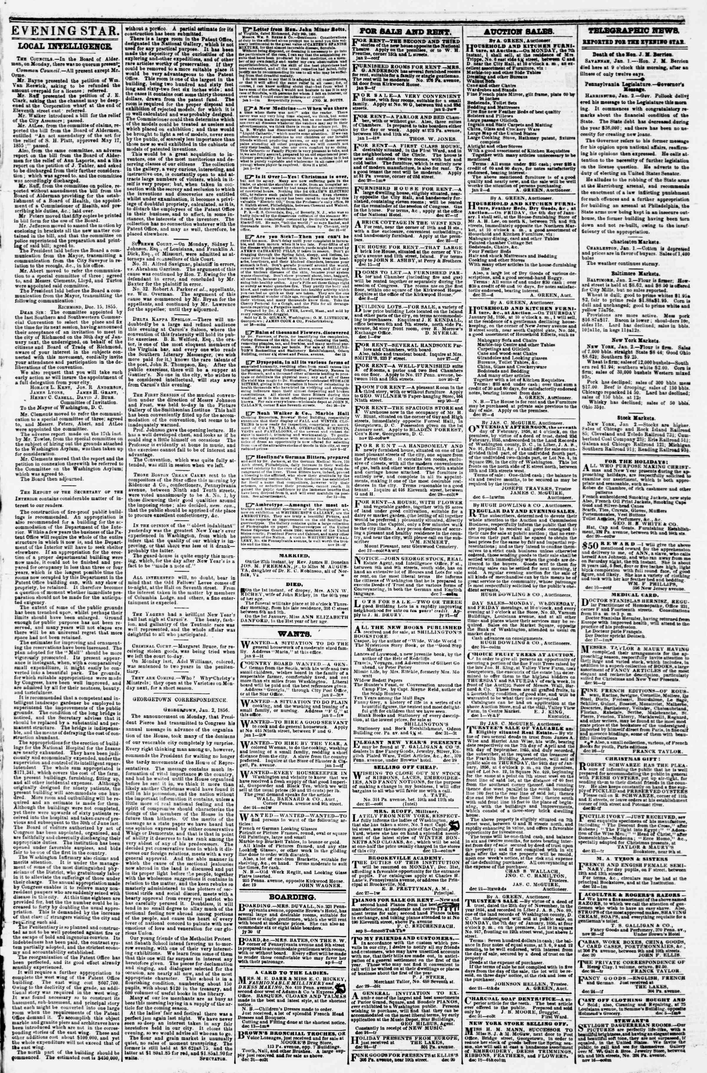 Newspaper of Evening Star dated January 2, 1856 Page 3
