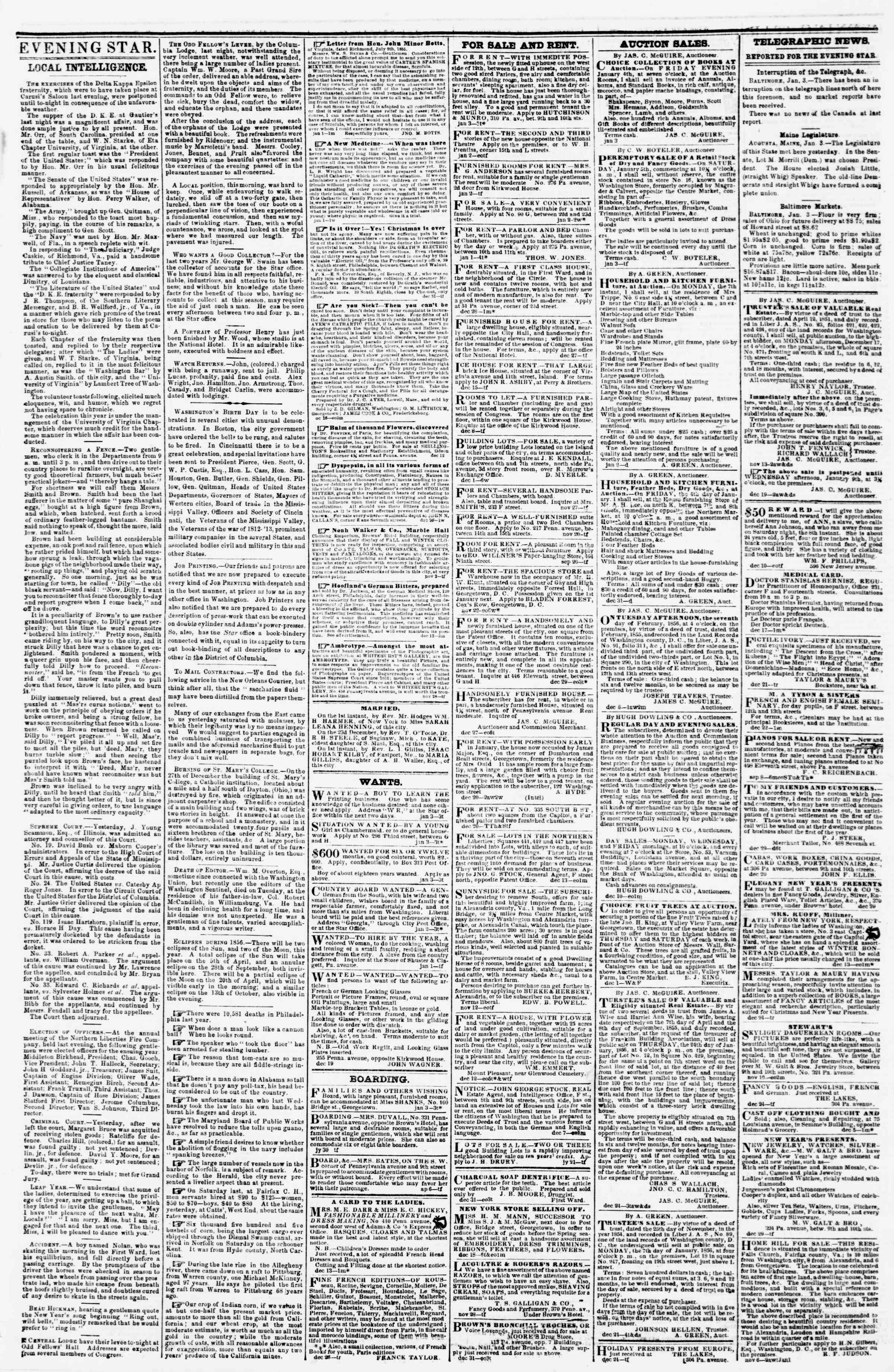 Newspaper of Evening Star dated January 3, 1856 Page 3