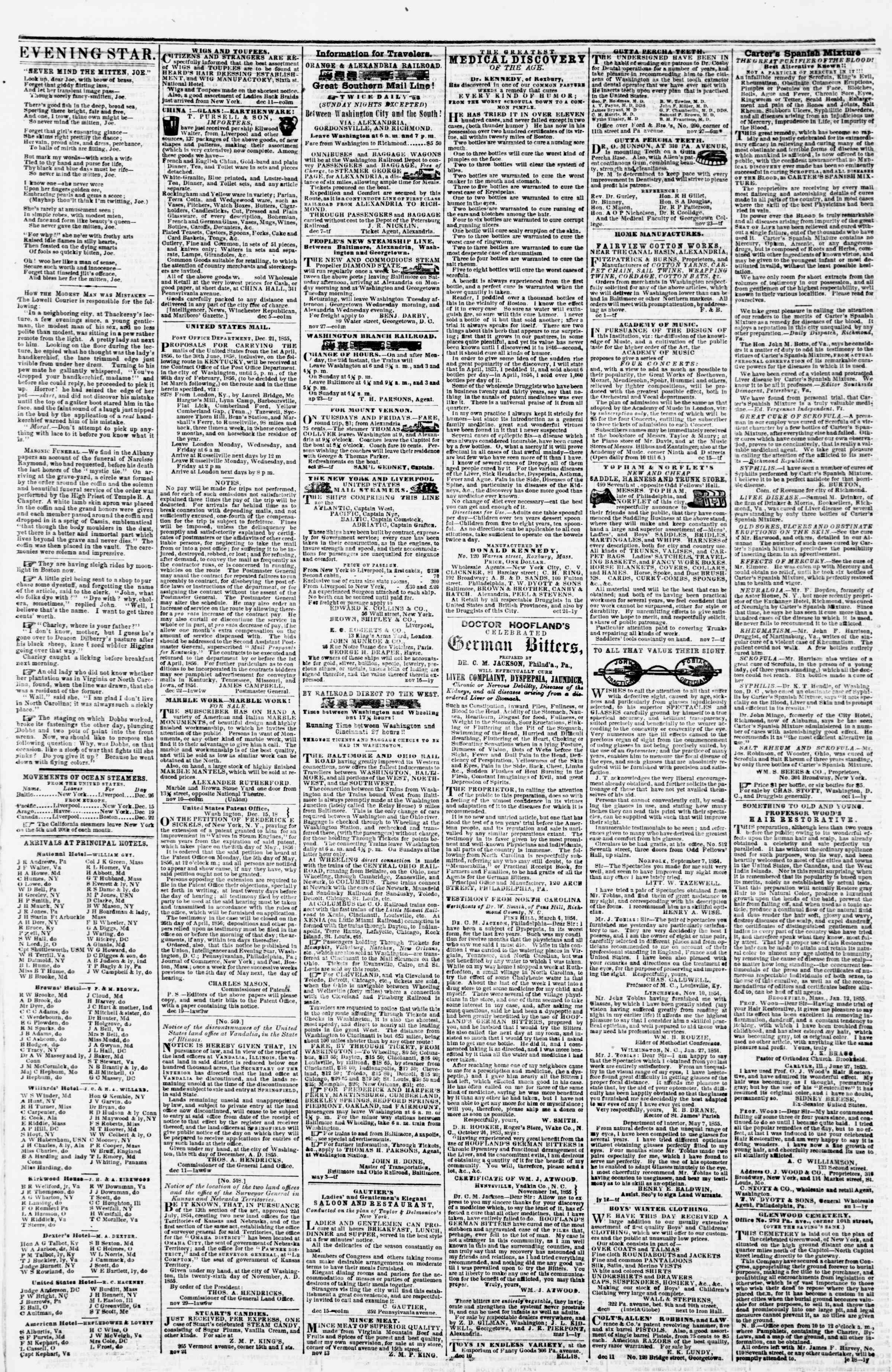 Newspaper of Evening Star dated January 3, 1856 Page 4