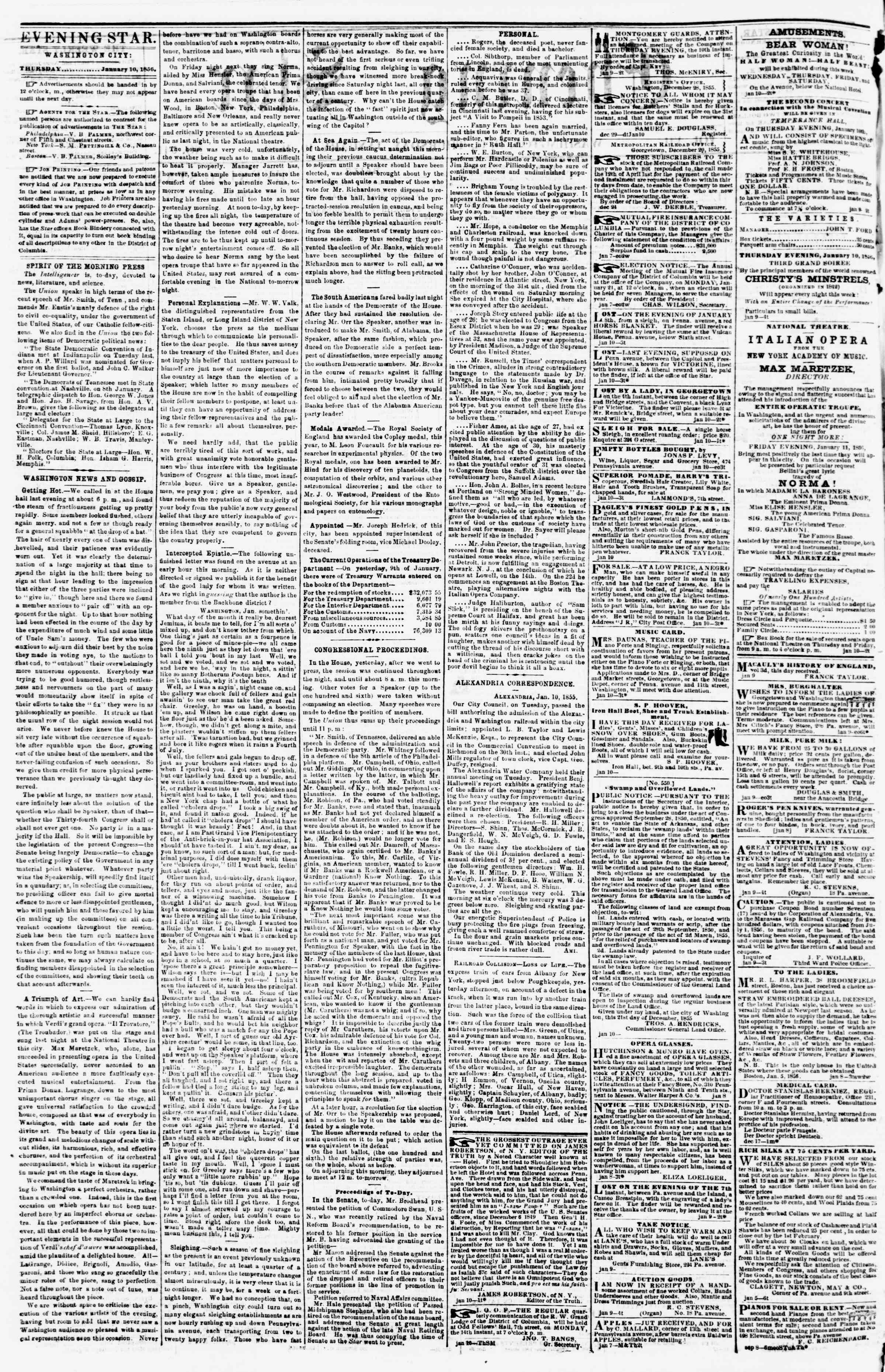 Newspaper of Evening Star dated January 10, 1856 Page 2