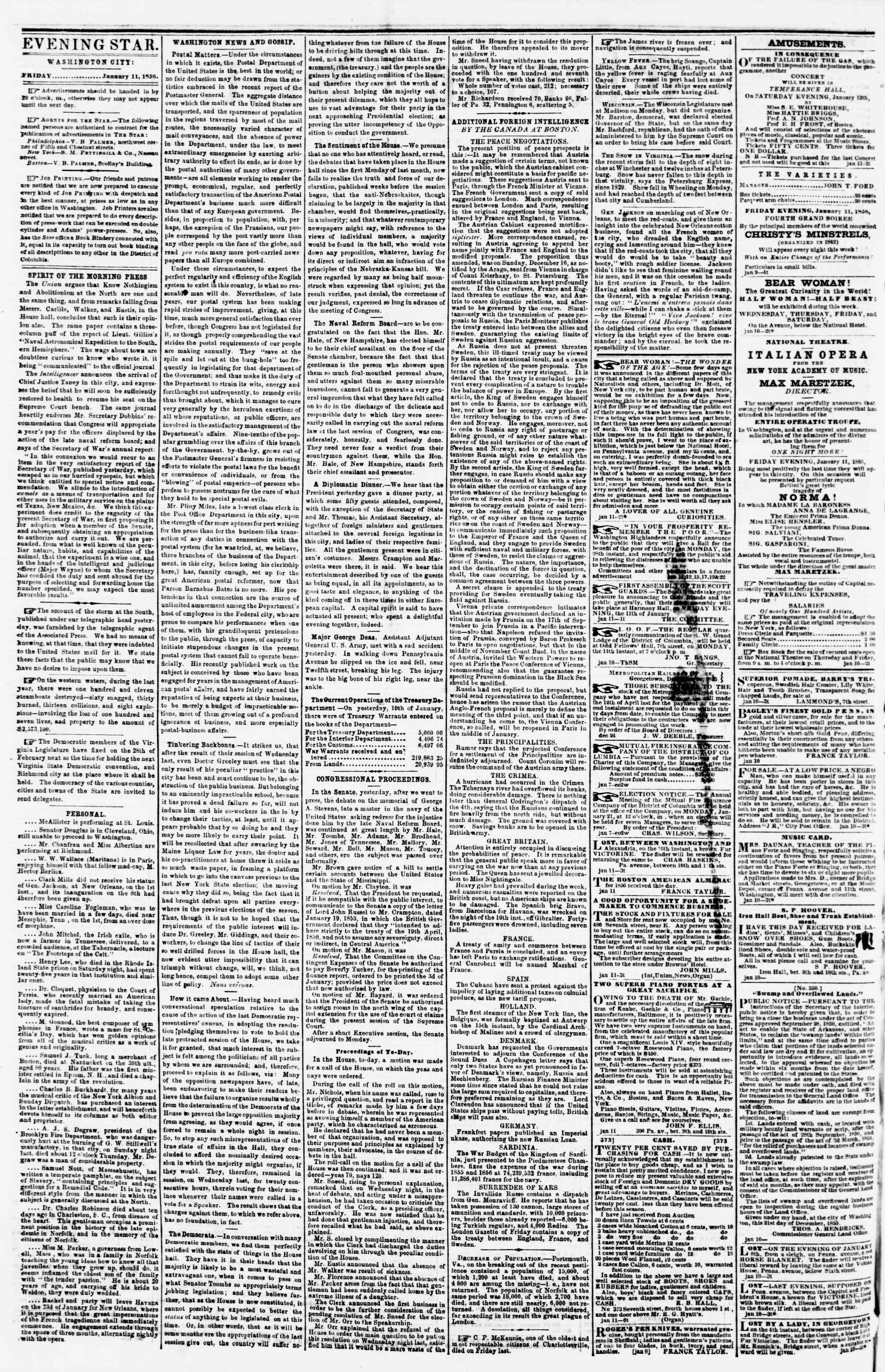 Newspaper of Evening Star dated January 11, 1856 Page 2