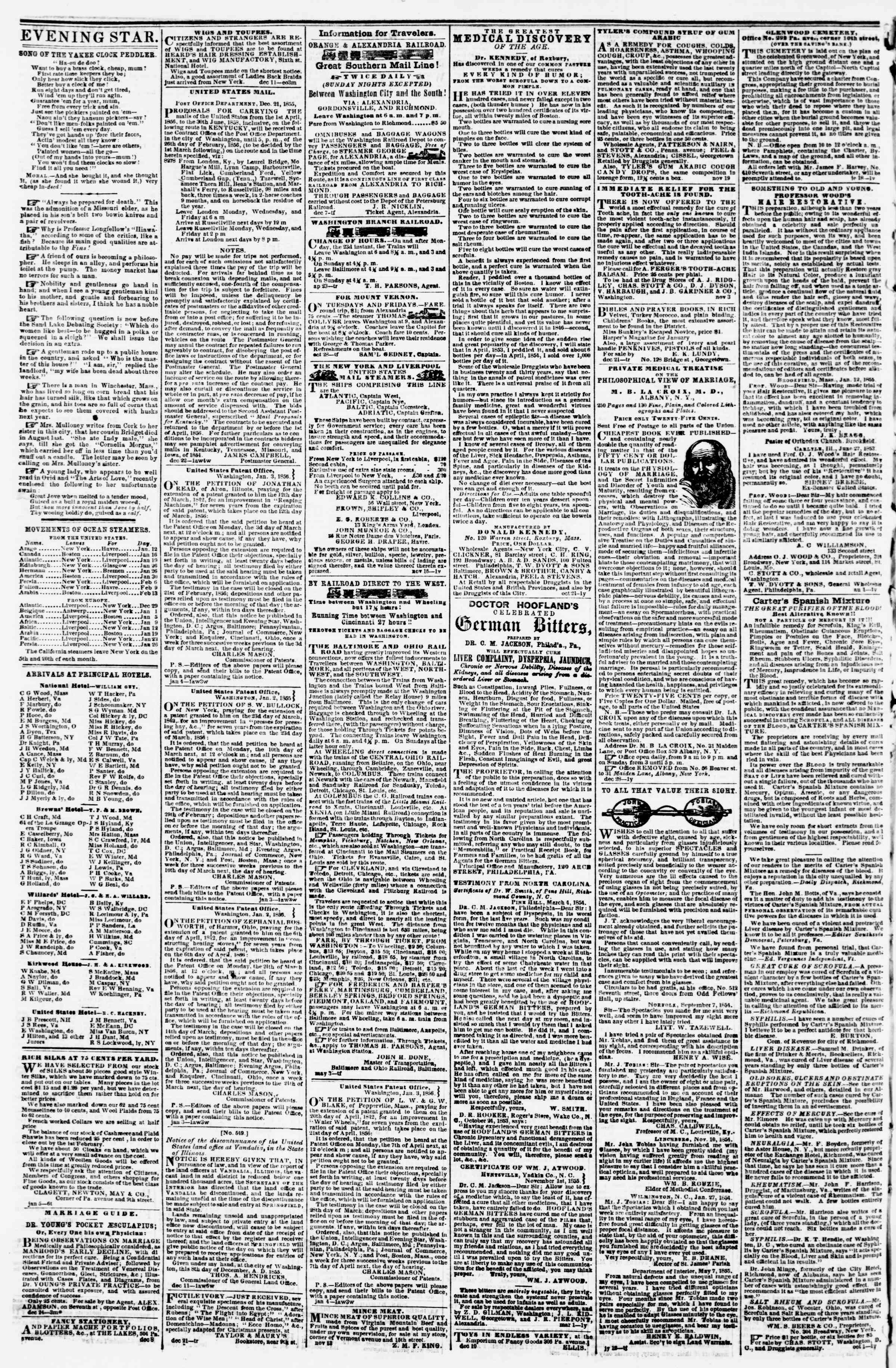 Newspaper of Evening Star dated January 11, 1856 Page 4