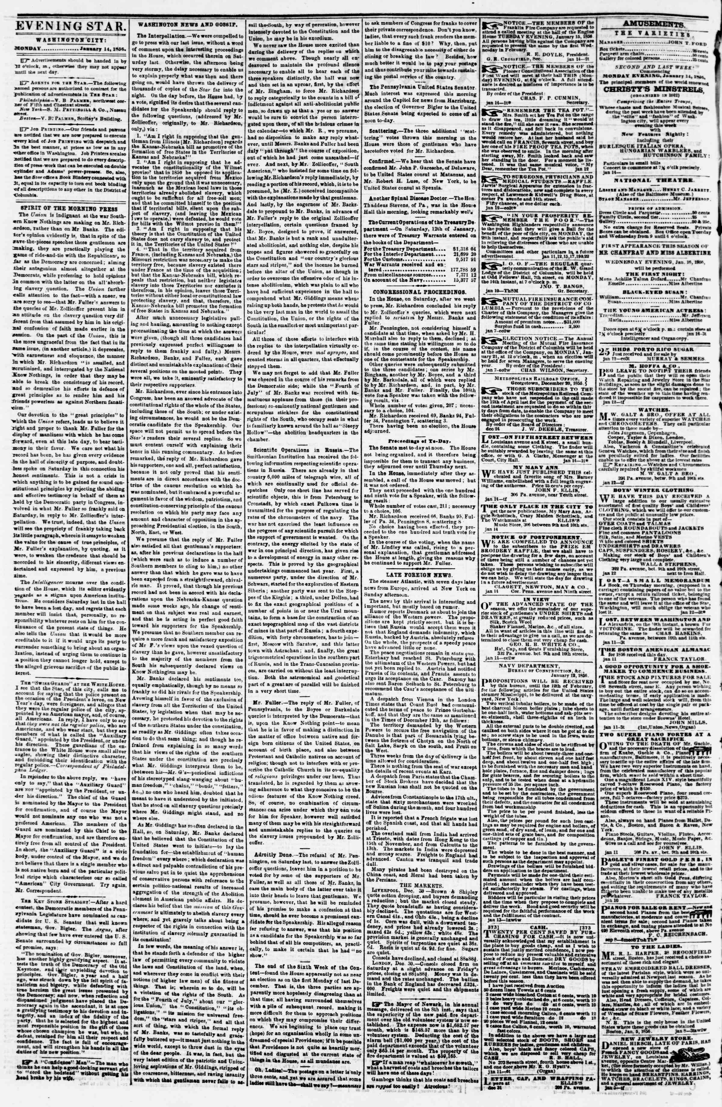 Newspaper of Evening Star dated January 14, 1856 Page 2