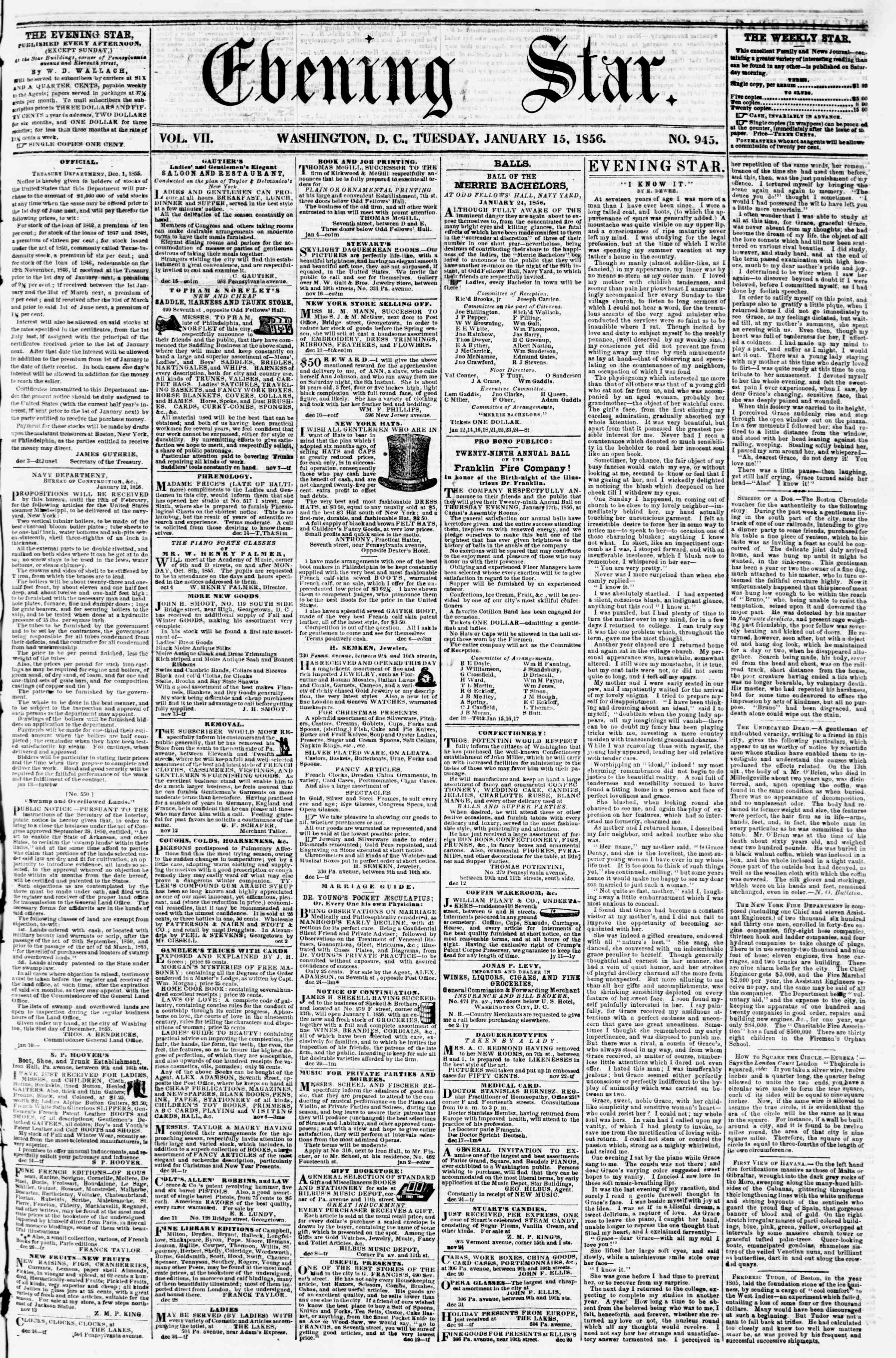 Newspaper of Evening Star dated January 15, 1856 Page 1