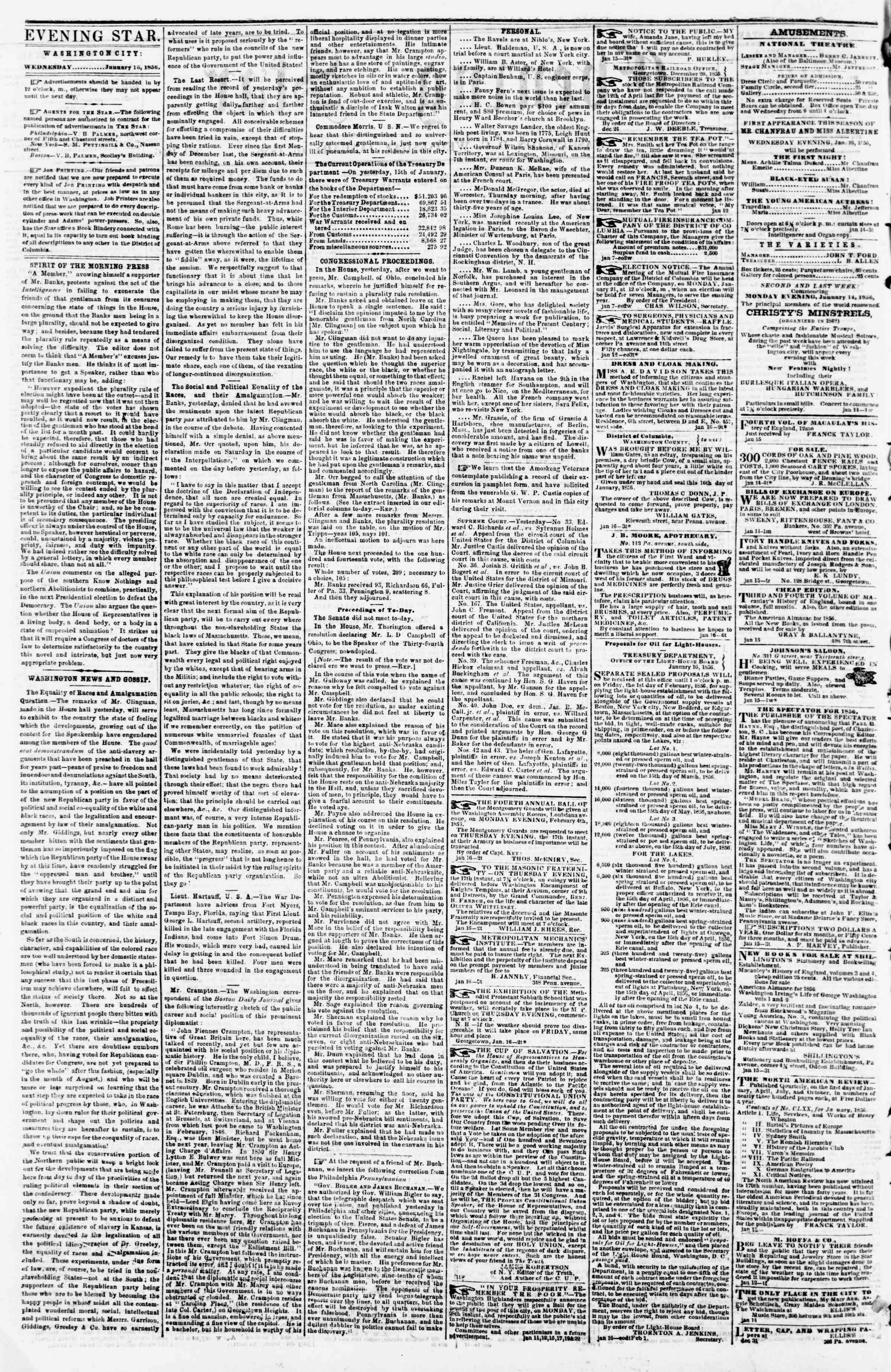 Newspaper of Evening Star dated January 16, 1856 Page 2