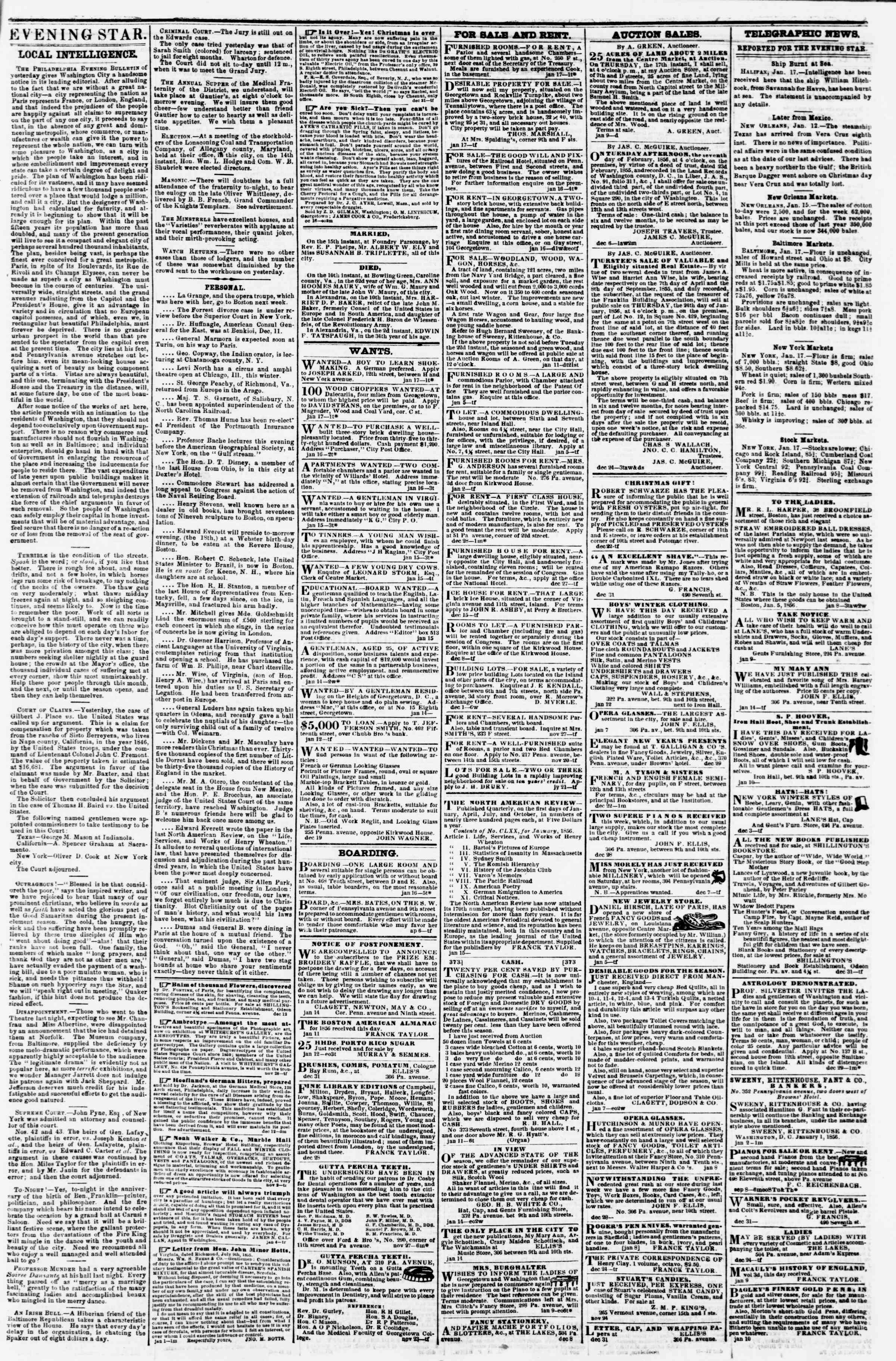 Newspaper of Evening Star dated January 17, 1856 Page 3