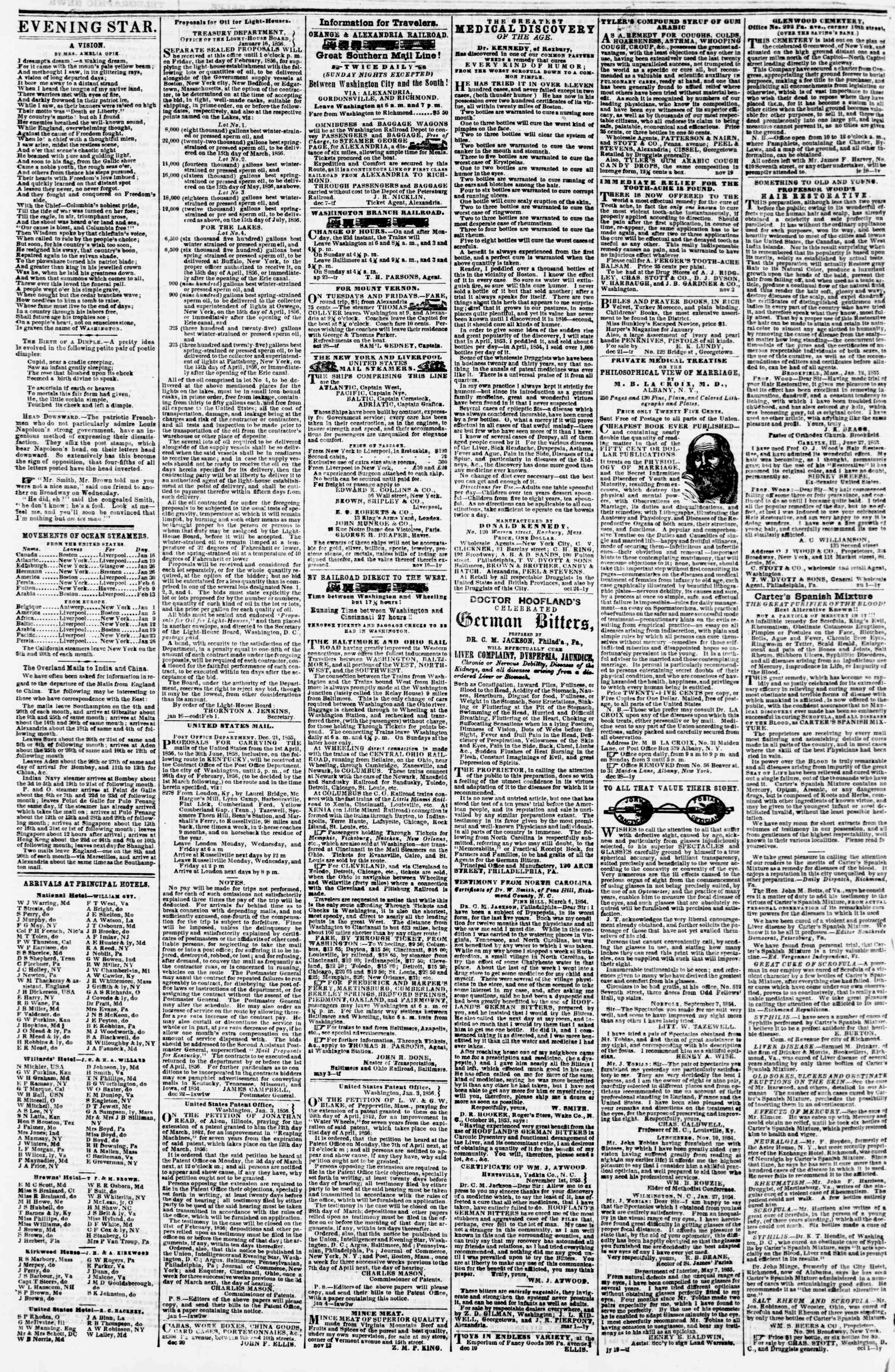 Newspaper of Evening Star dated January 18, 1856 Page 4