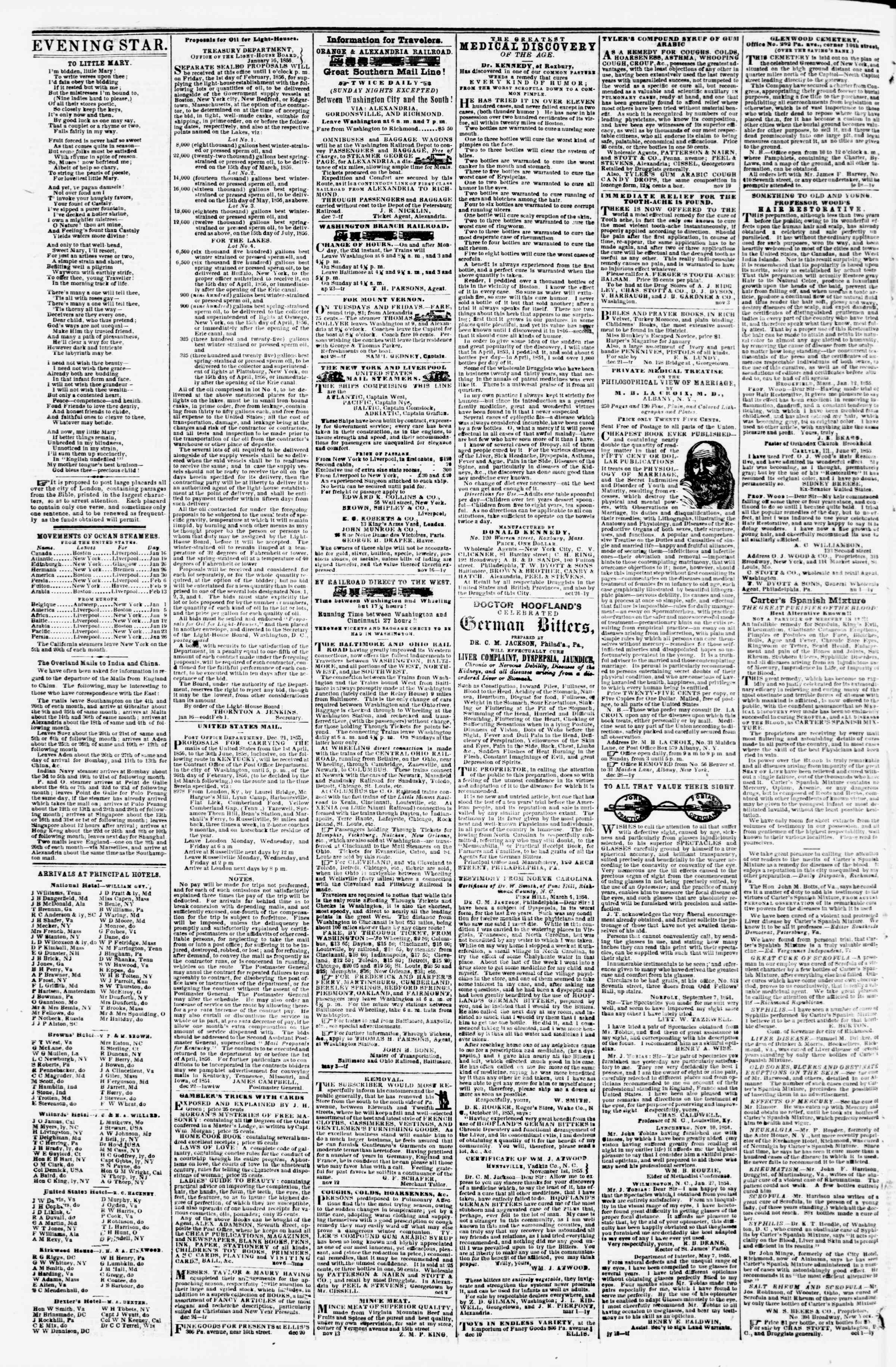 Newspaper of Evening Star dated January 19, 1856 Page 4