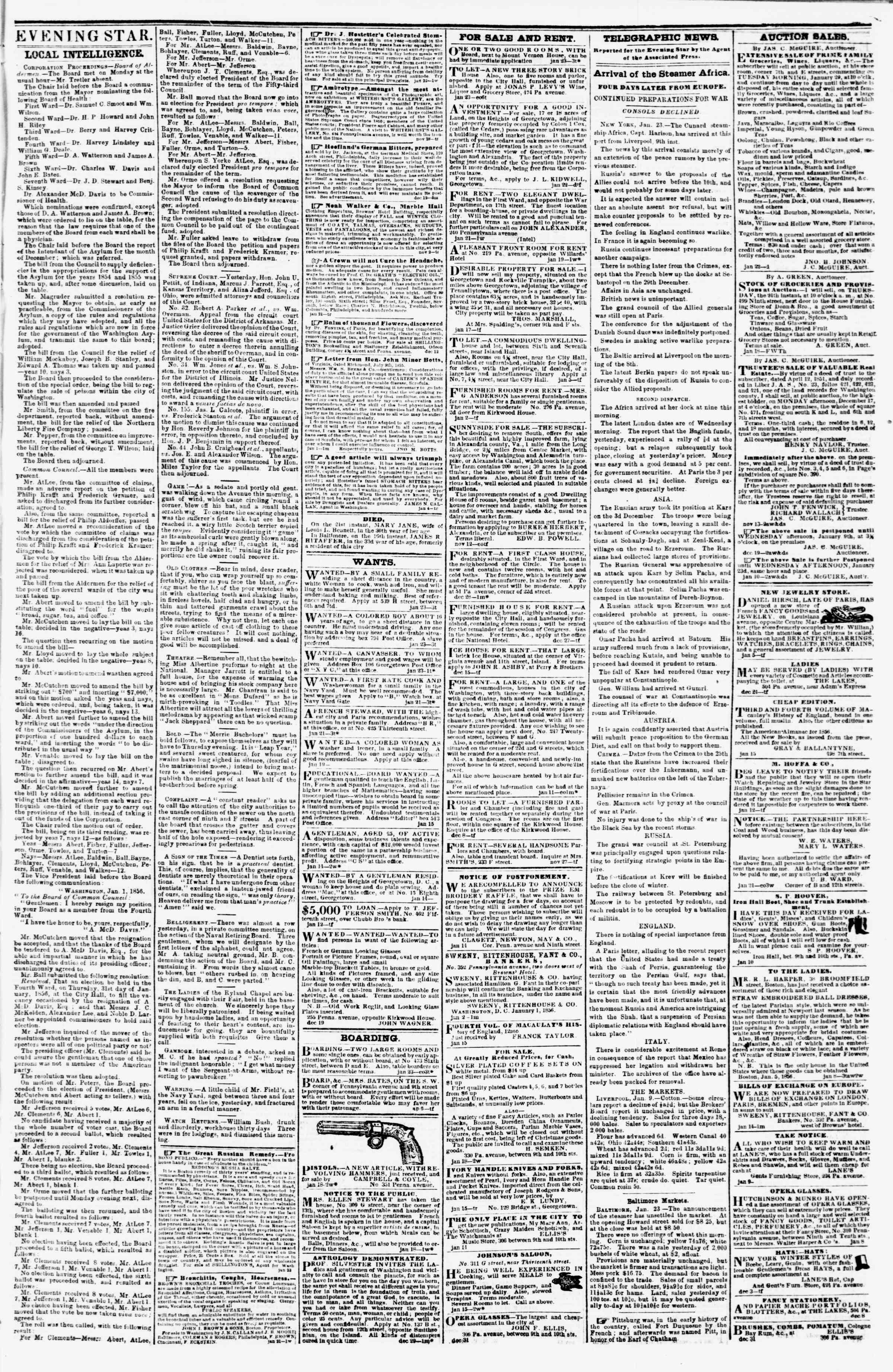 Newspaper of Evening Star dated 23 Ocak 1856 Page 3