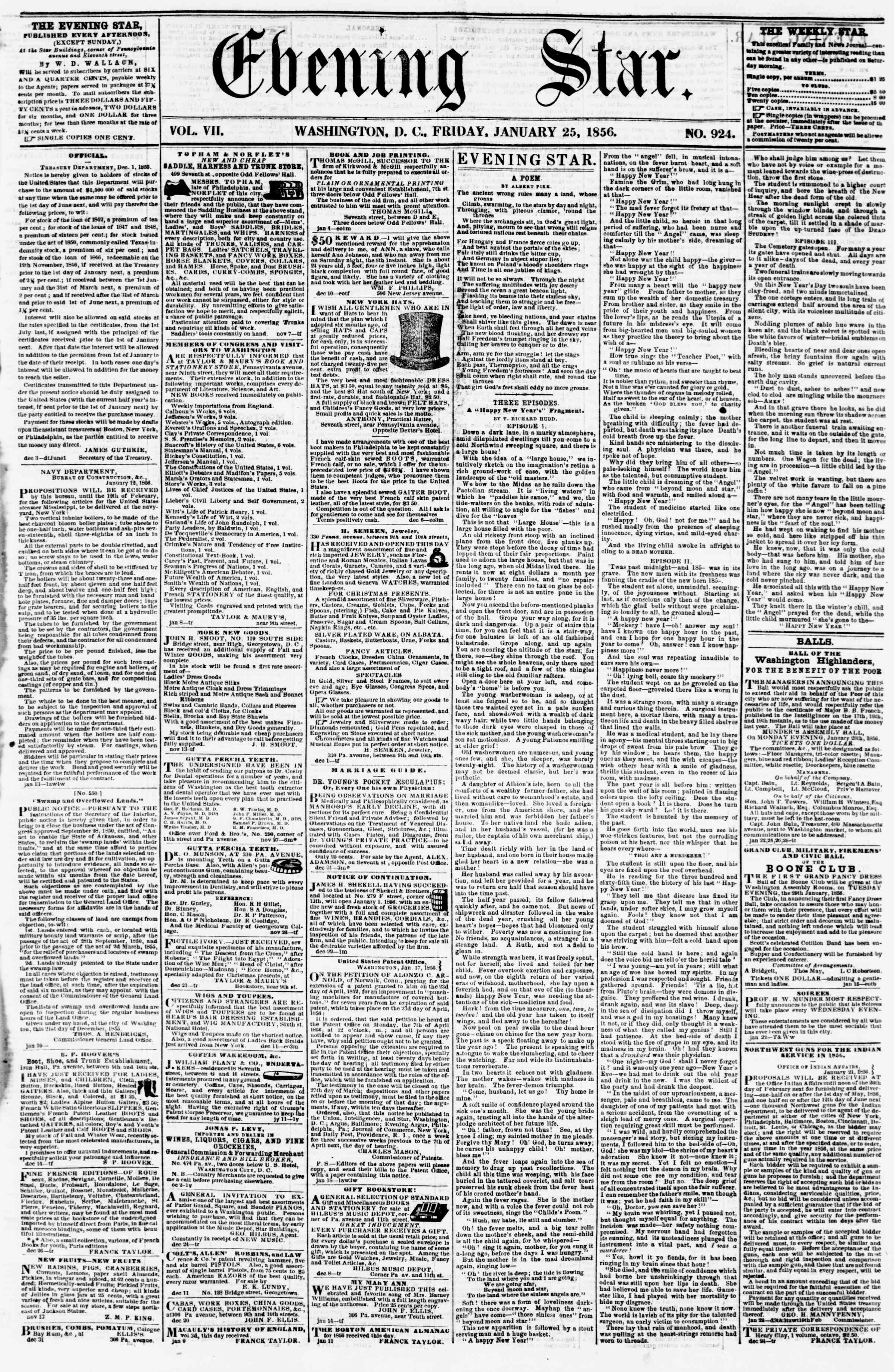 Newspaper of Evening Star dated January 25, 1856 Page 1