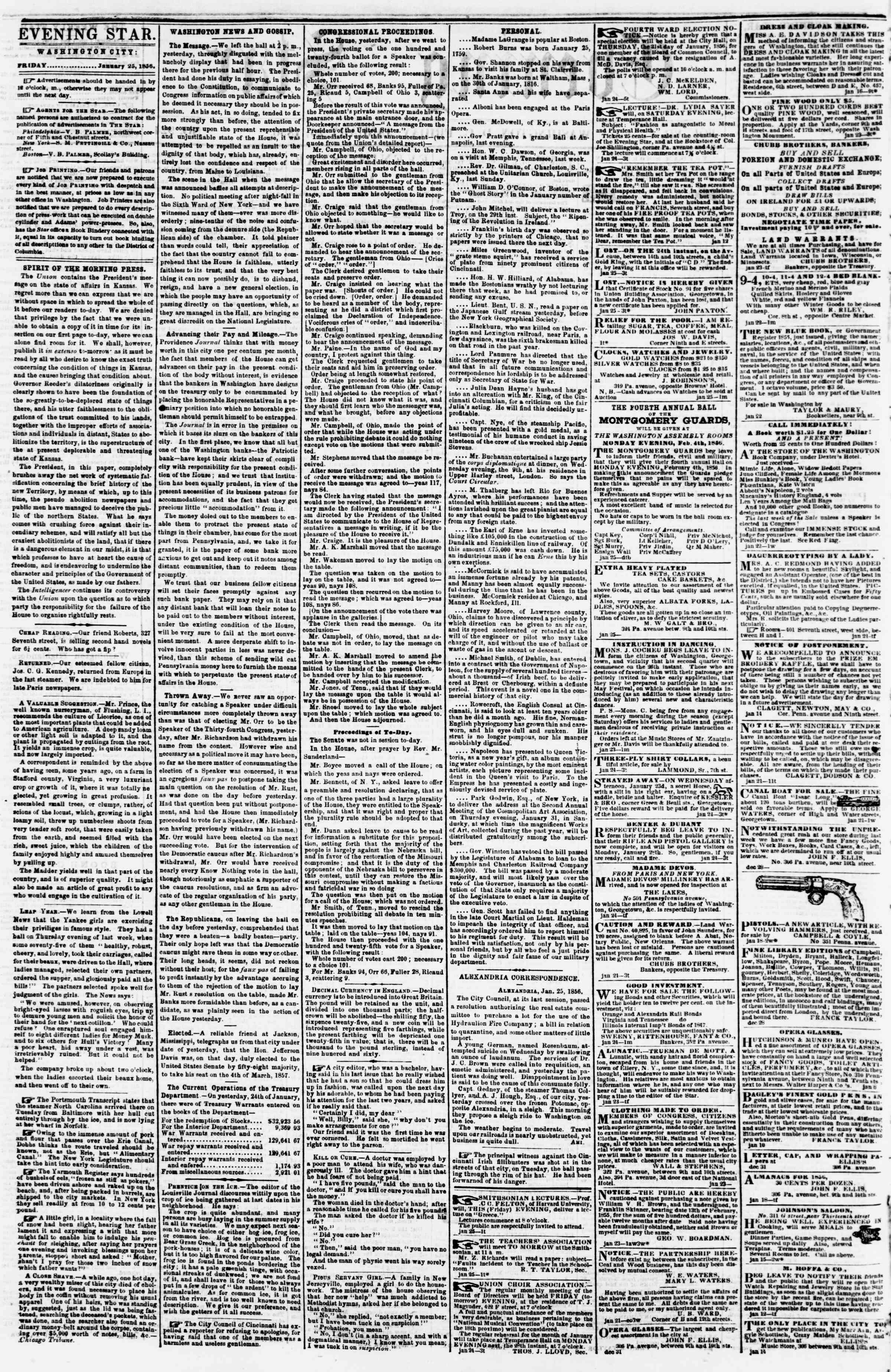 Newspaper of Evening Star dated January 25, 1856 Page 2