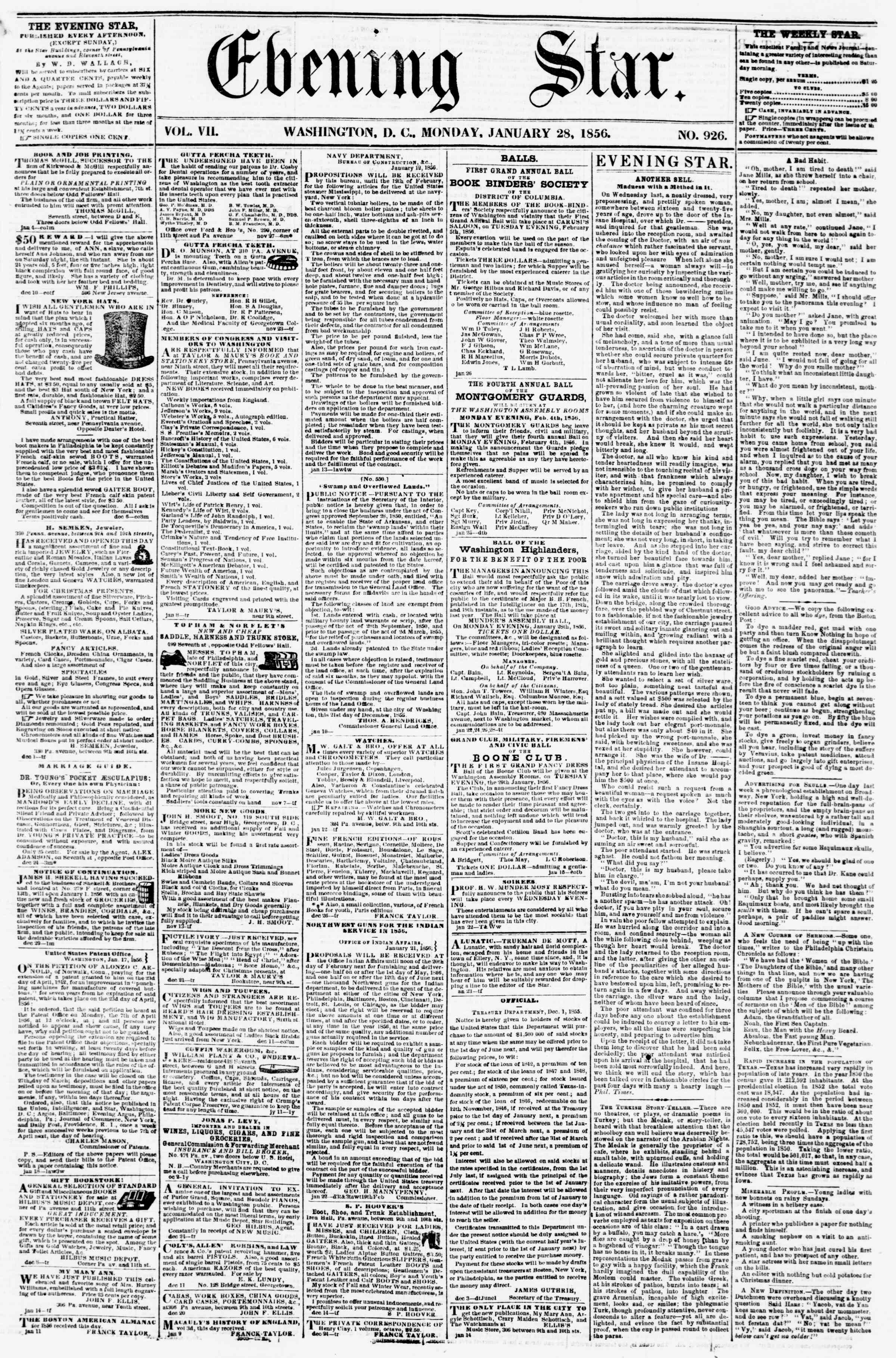Newspaper of Evening Star dated January 28, 1856 Page 1