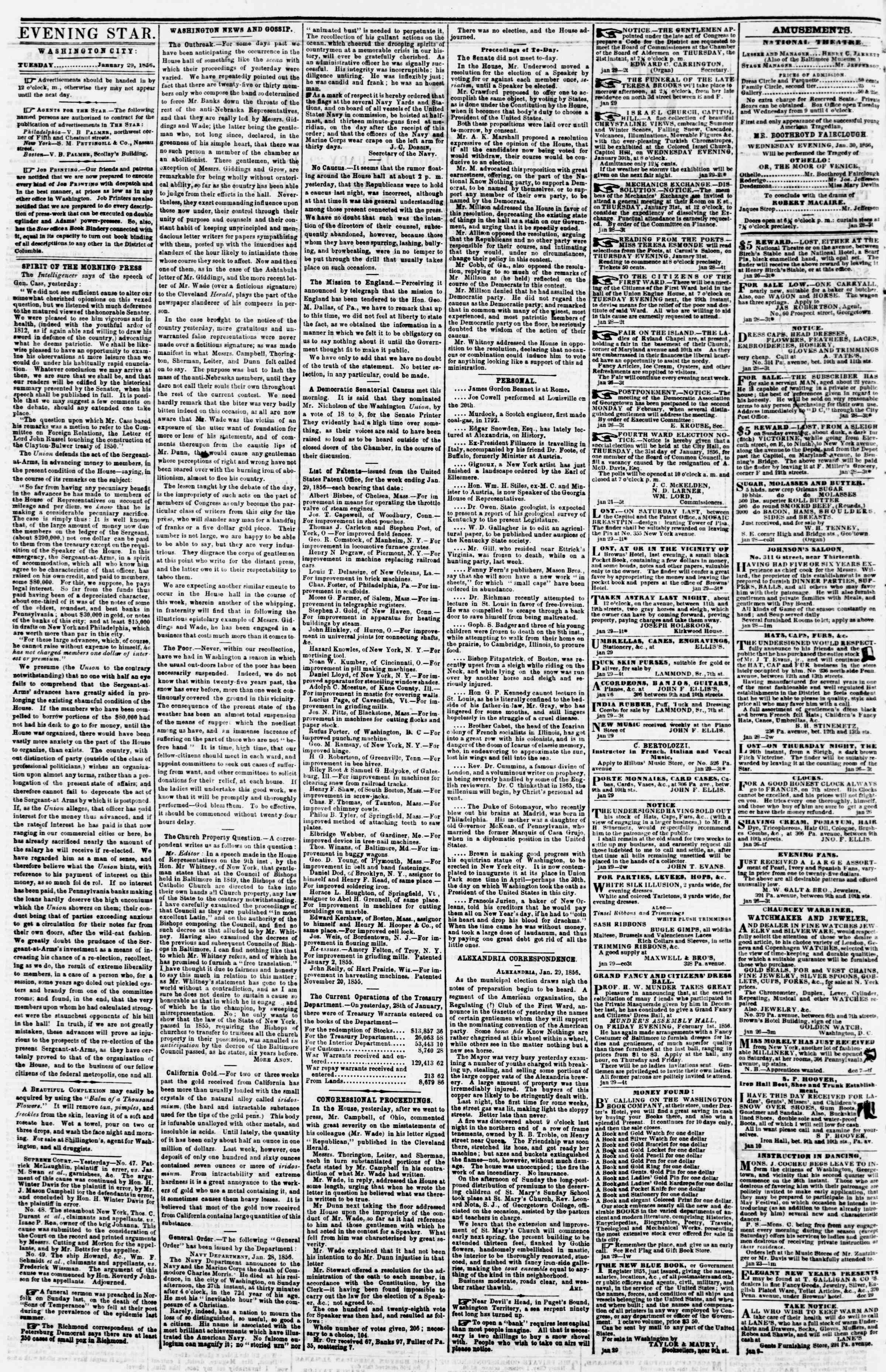 Newspaper of Evening Star dated January 29, 1856 Page 2