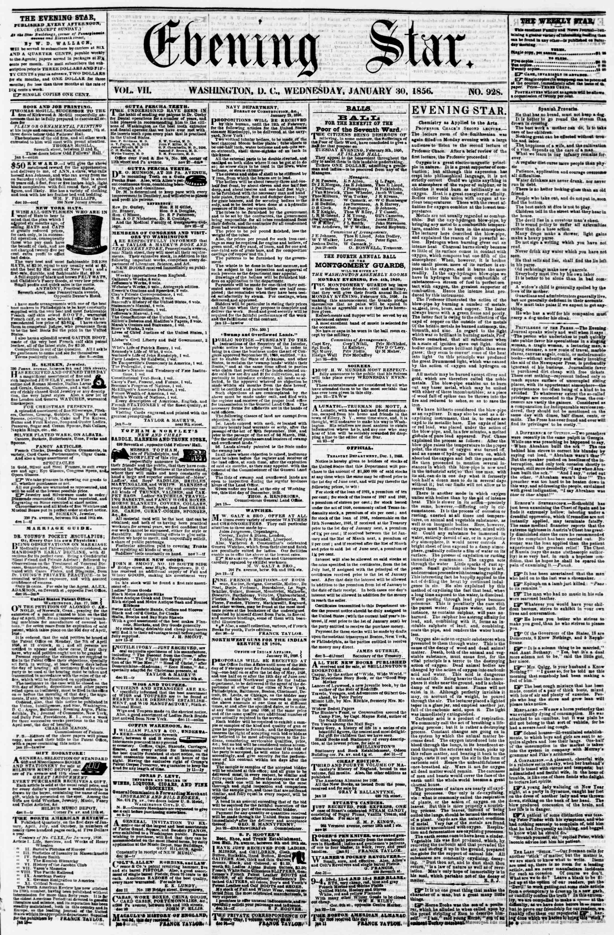 Newspaper of Evening Star dated January 30, 1856 Page 1