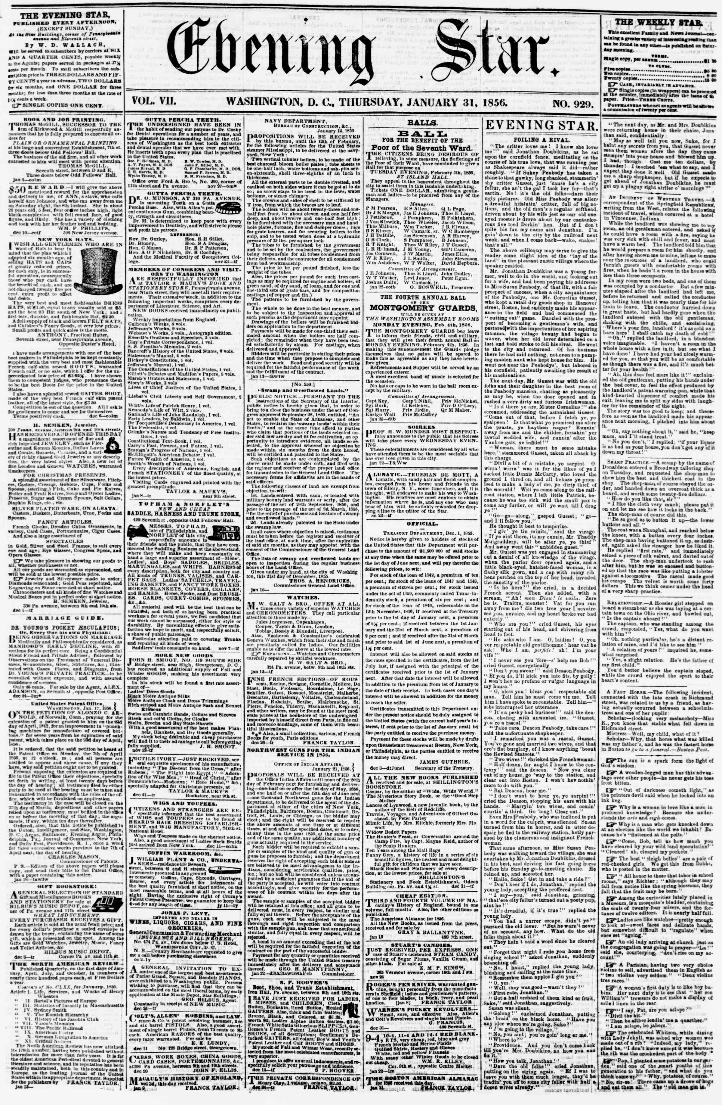 Newspaper of Evening Star dated January 31, 1856 Page 1